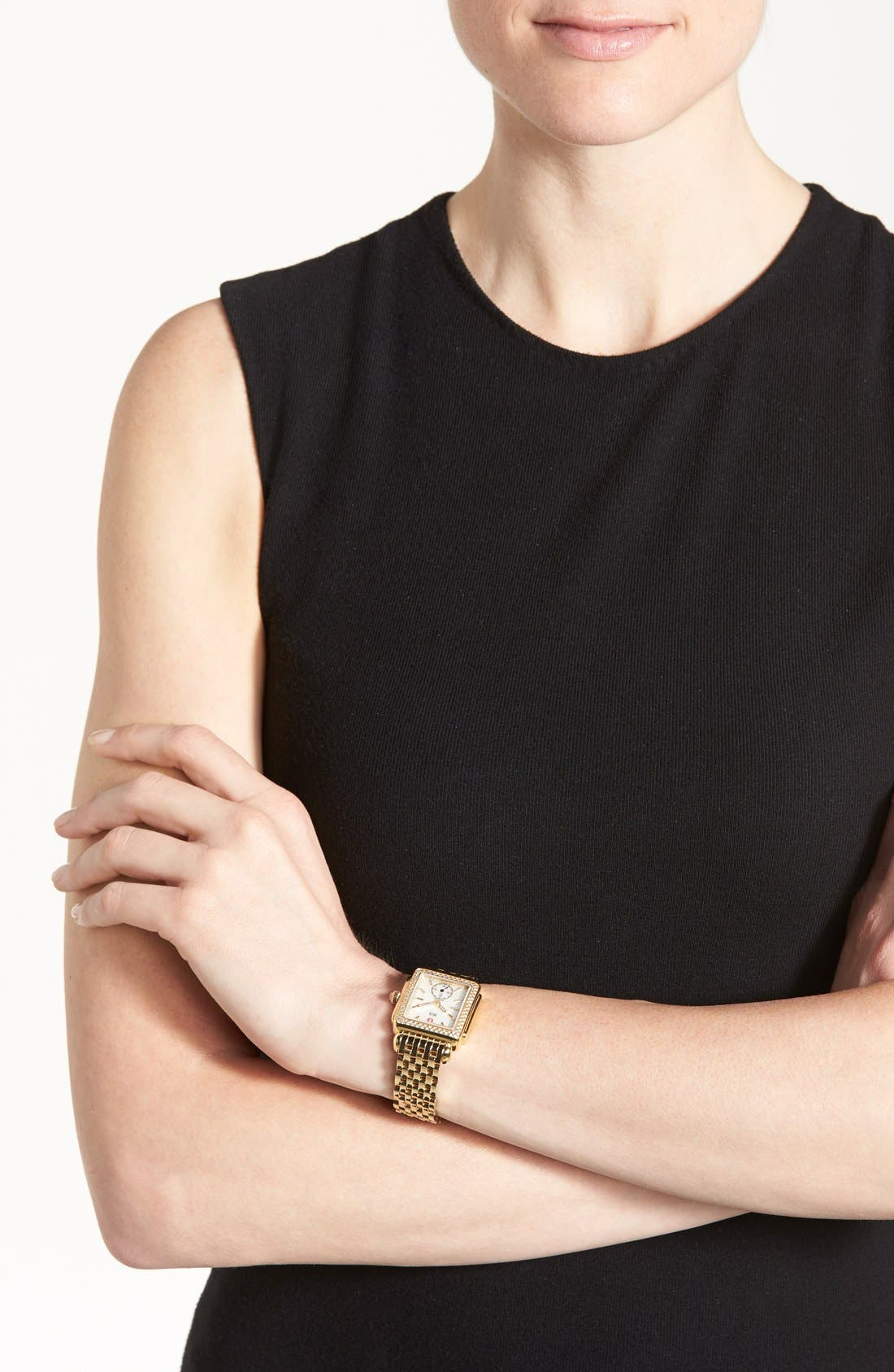 Alternate Image 3  - MICHELE Deco 16 Diamond Gold Plated Watch Head, 29mm x 31mm