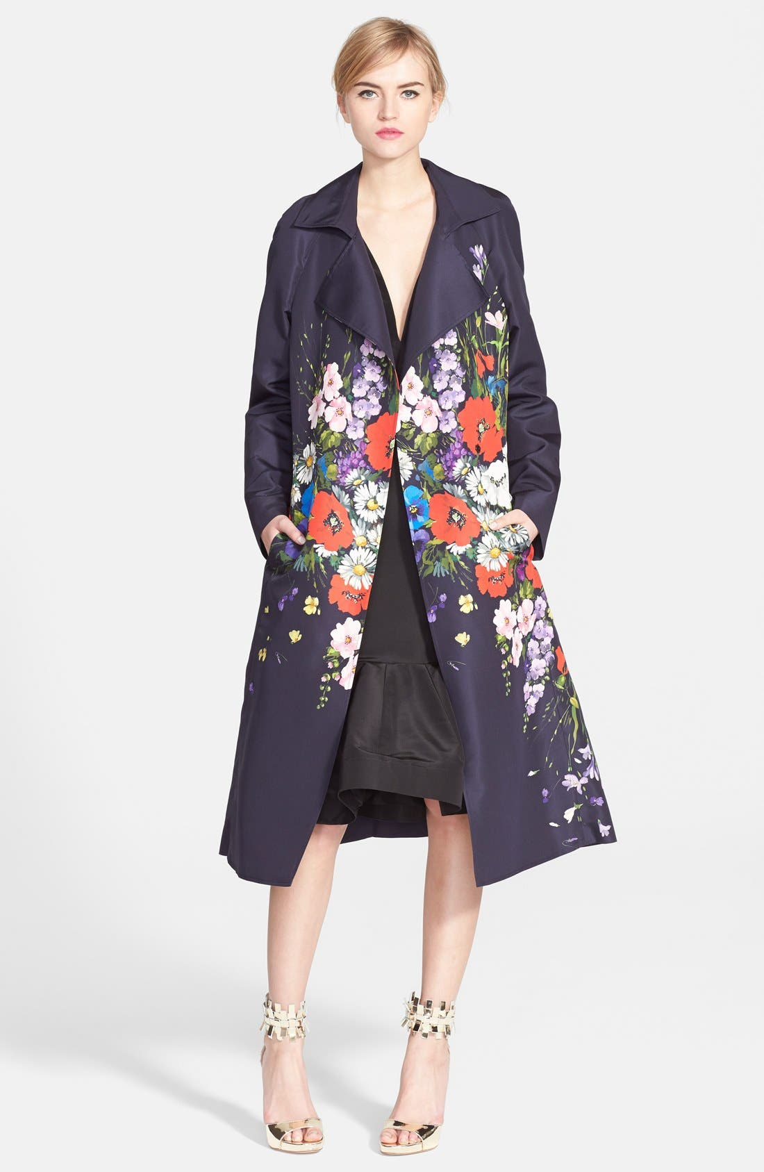 Alternate Image 1 Selected - Oscar de la Renta Floral Print Silk Faille Trench Coat