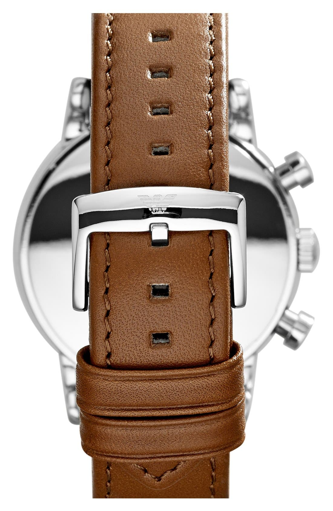 Alternate Image 2  - Emporio Armani Chronograph Leather Strap Watch, 41mm