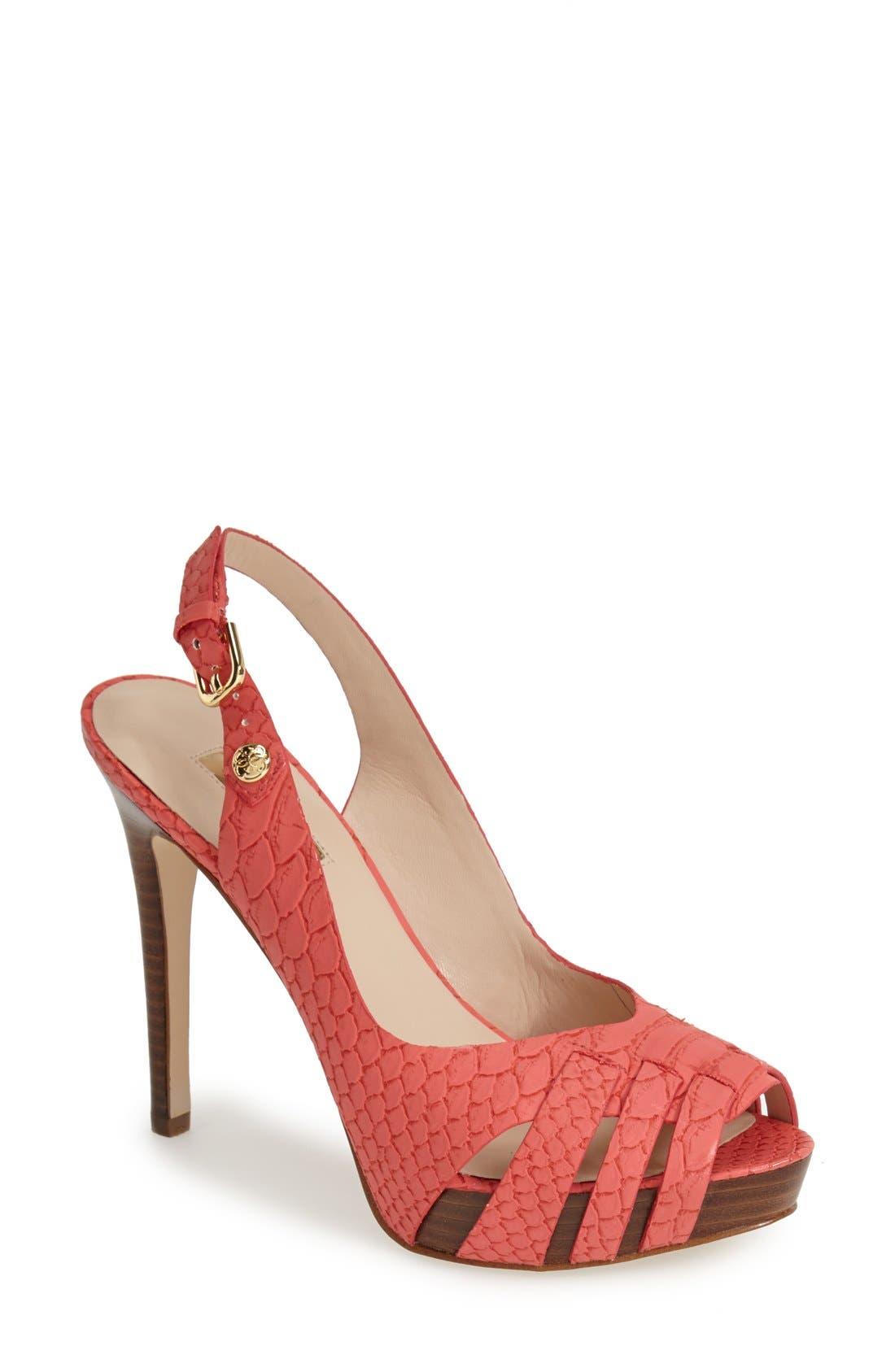 Alternate Image 1 Selected - GUESS 'Haben' Peep Toe Platform Sandal (Women)