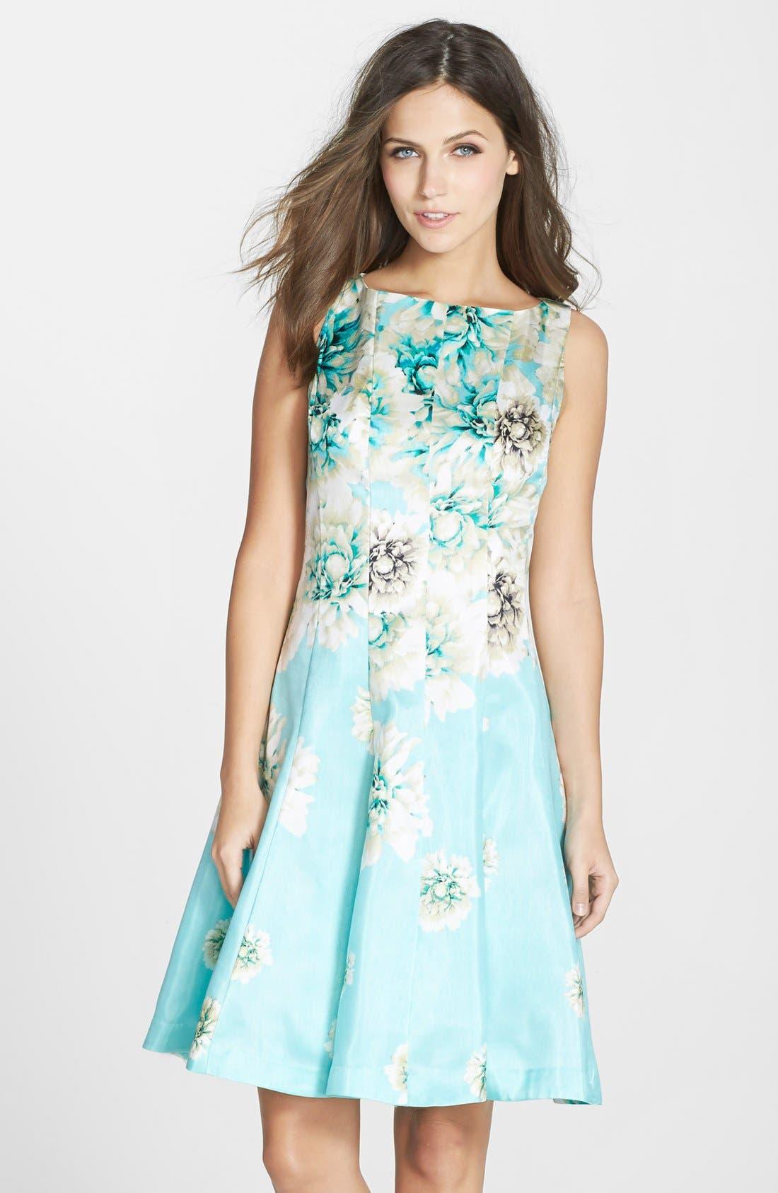 Alternate Image 1 Selected - Gabby Skye Floral Print Shantung Fit & Flare Dress