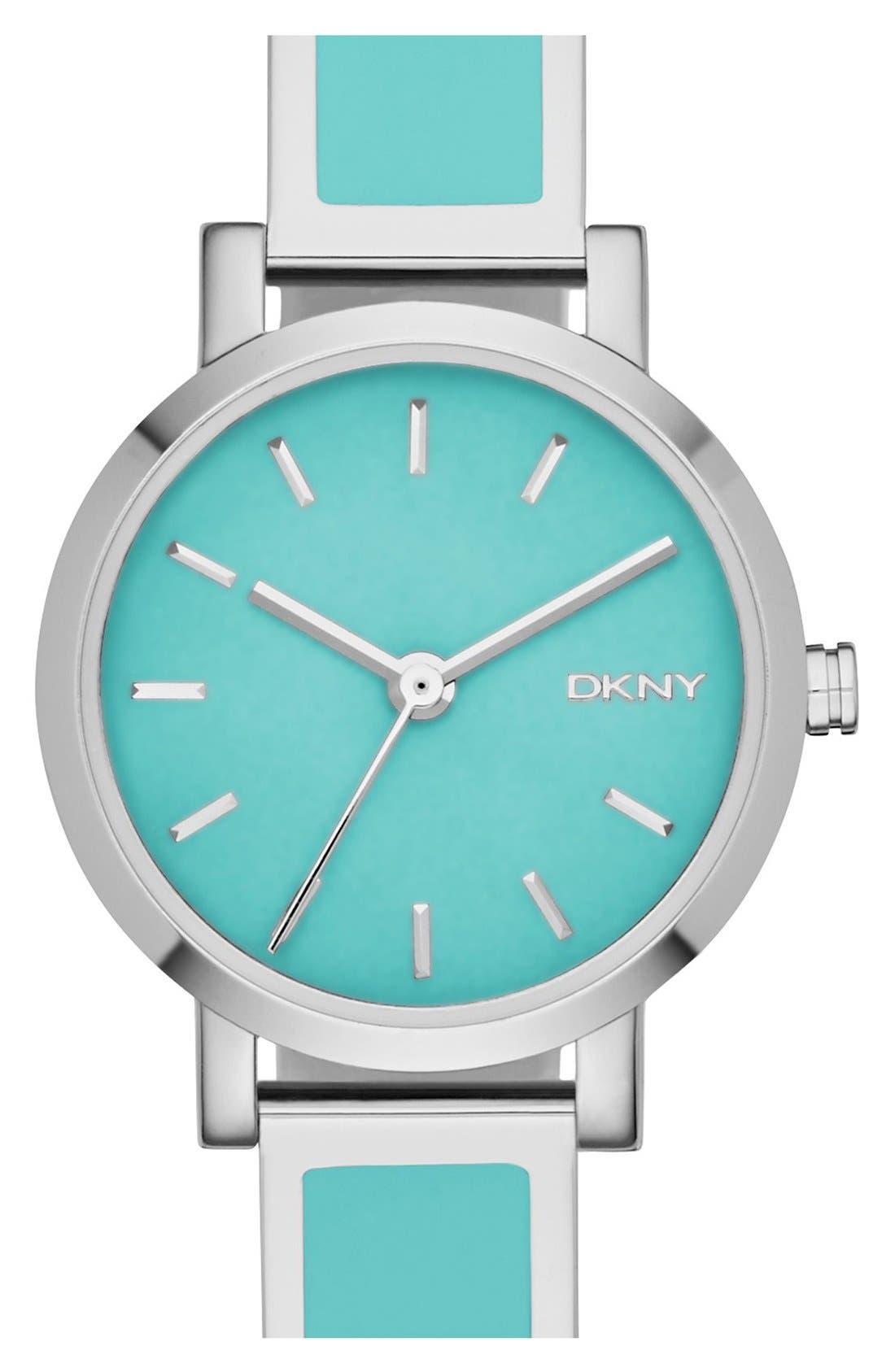 Alternate Image 1 Selected - DKNY 'Soho' Logo Round Bangle Watch, 24mm