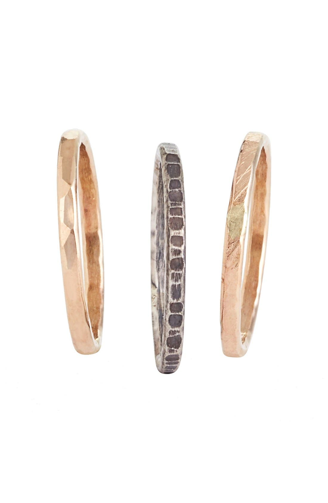 Alternate Image 2  - Nashelle Ija Stackable Hammered Rings (Set of 3)