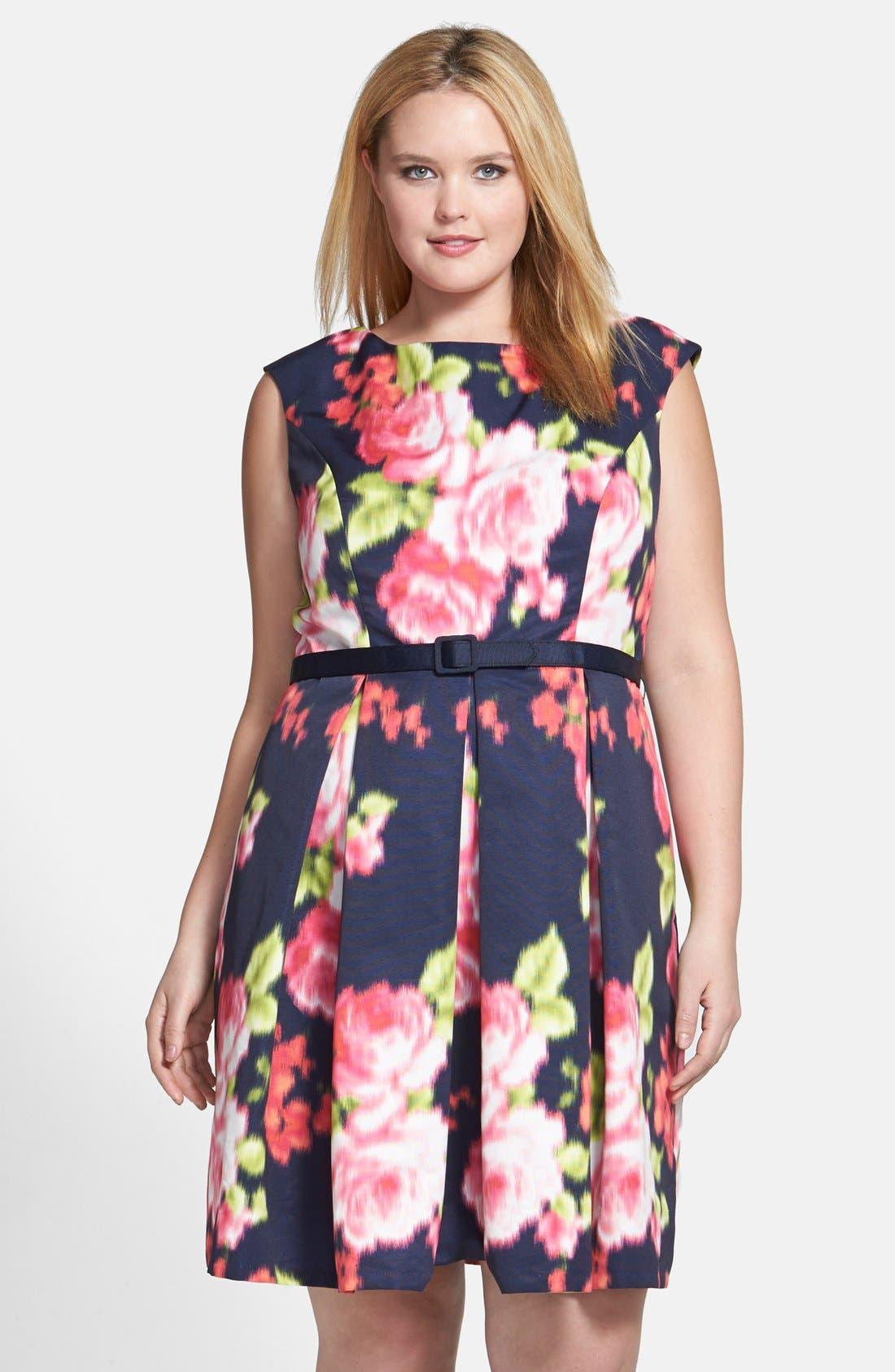 Main Image - Eliza J Floral Print Cap Sleeve Fit & Flare Dress (Plus Size)