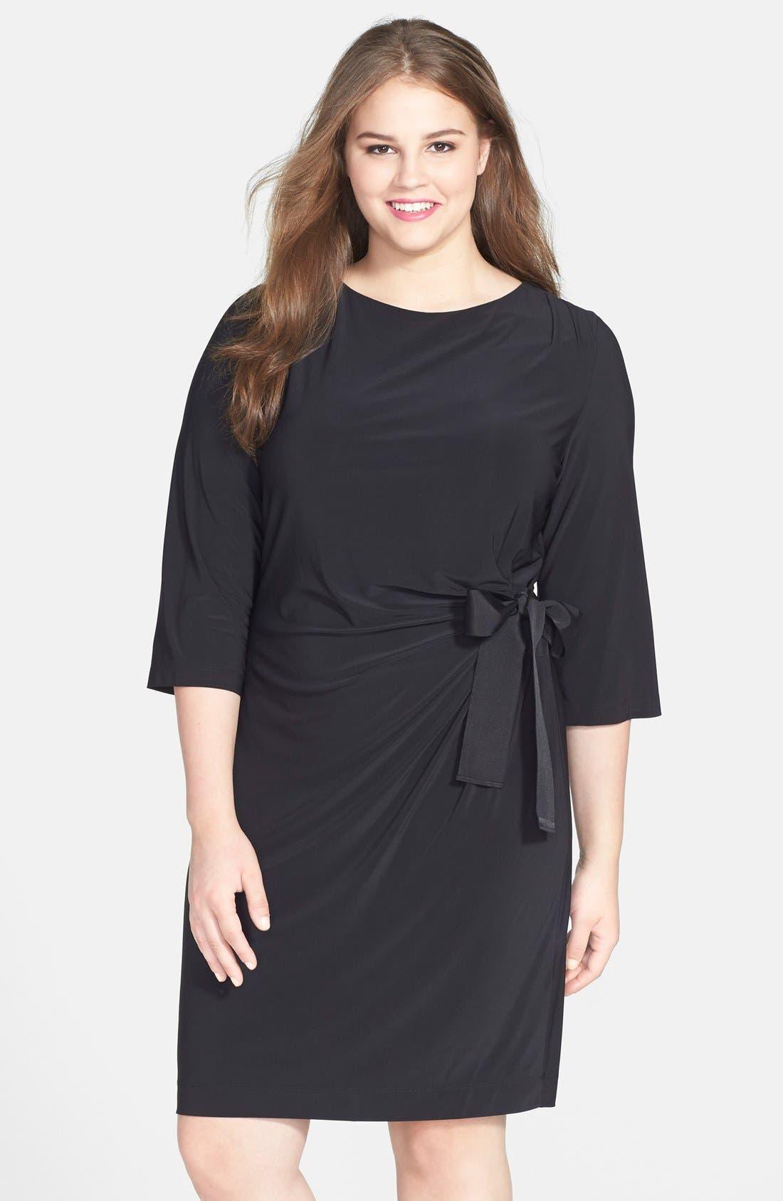 Main Image - Taylor Dresses Faux Wrap Dress (Plus Size)