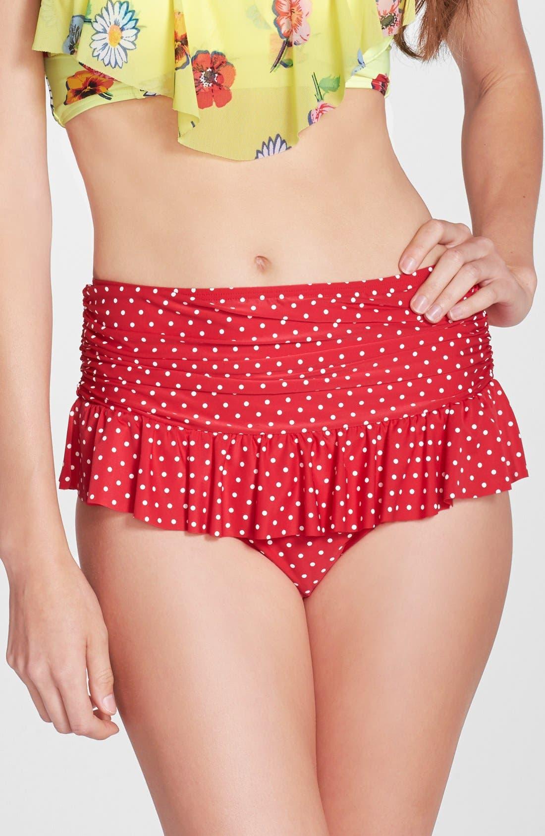 Main Image - Betsey Johnson 'Caroline No' Polka Dot High Waist Bikini Bottoms