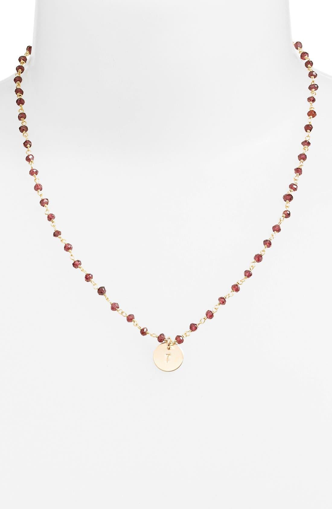 Alternate Image 2  - Nashelle 14k-Gold Fill Mini Initial Disc Garnet Chain Necklace
