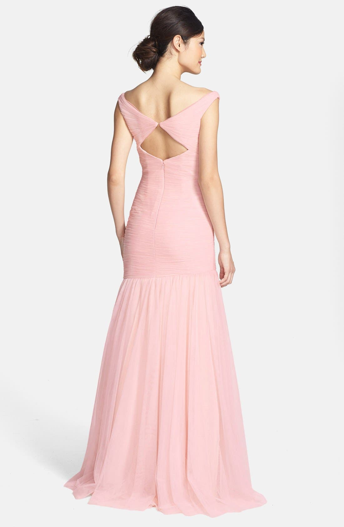 Alternate Image 2  - Monique Lhuillier Bridesmaids V-Neck Shirred Tulle Trumpet Dress
