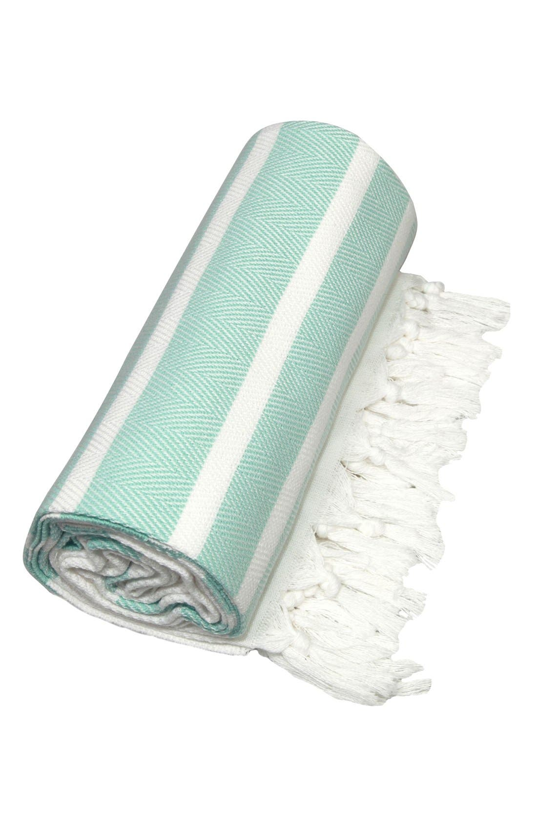 Alternate Image 2  - Linum Home Textiles Herringbone Striped Turkish Pestemal Towel