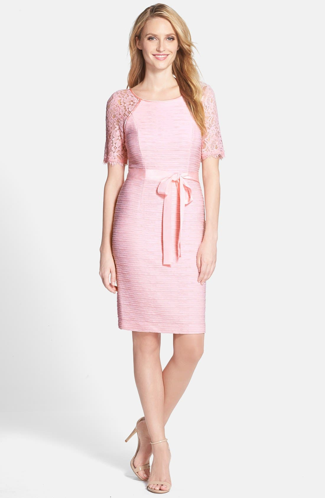 Main Image - Nue by Shani Lace Contrast Ottoman Knit Dress