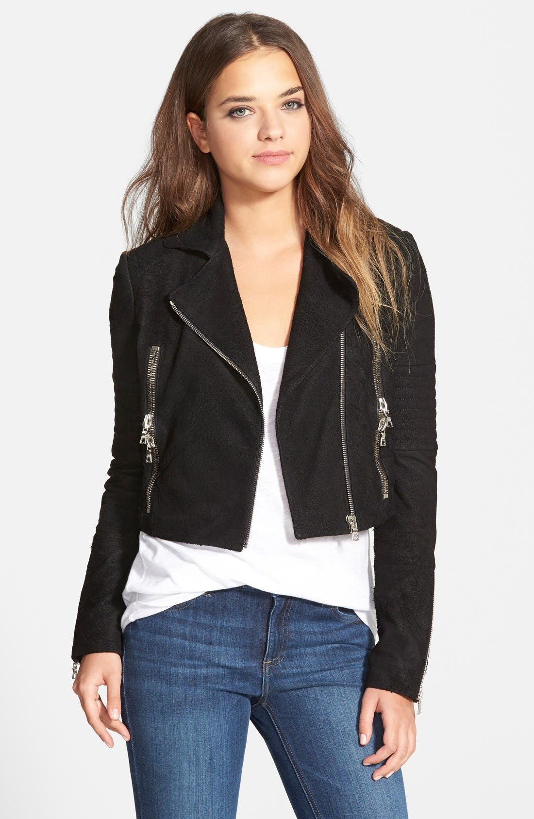 Alternate Image 1 Selected - J Brand Ready-To-Wear 'Aiah' Lambskin Suede Moto Jacket (Nordstrom Exclusive)