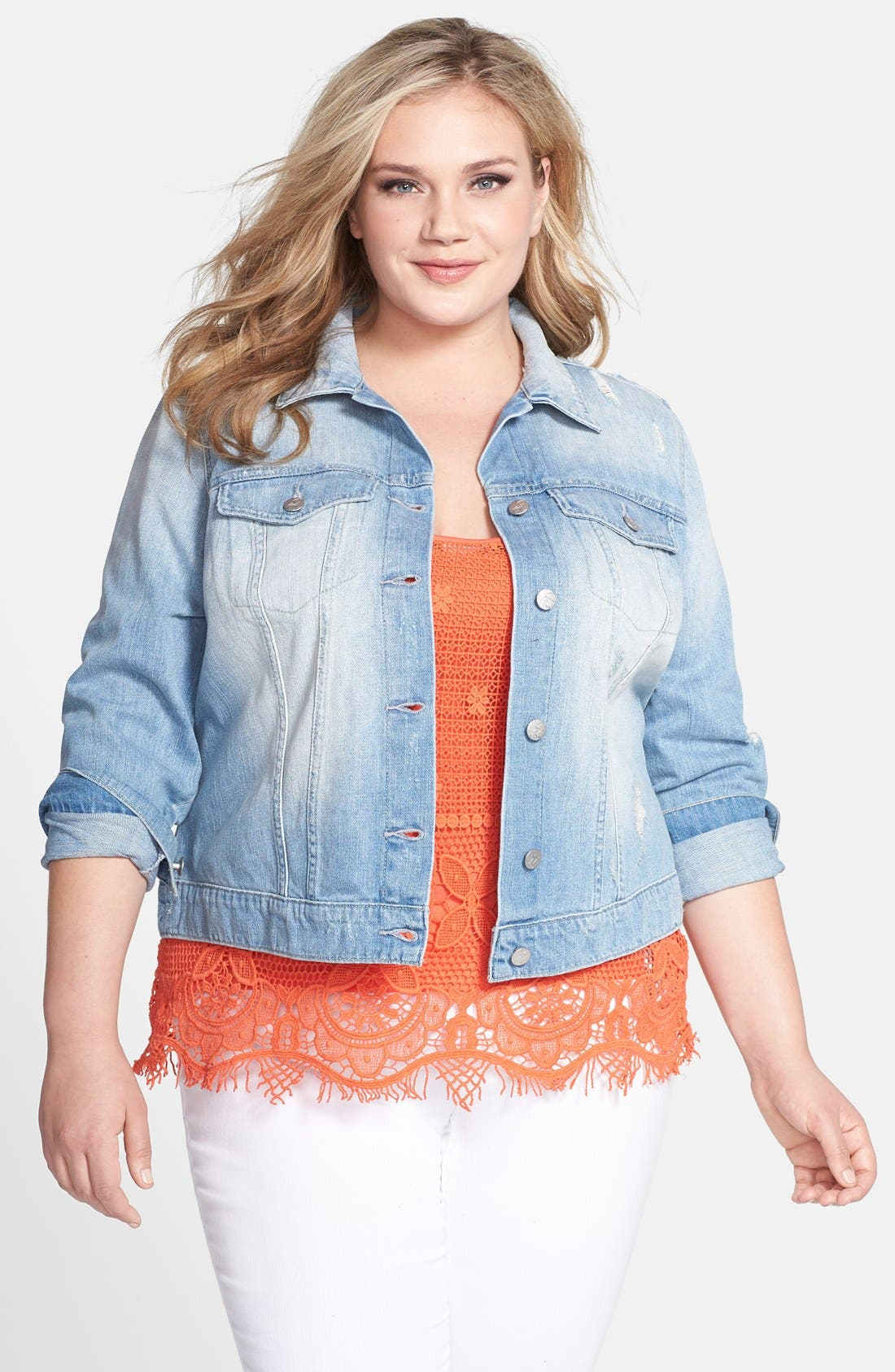 Alternate Image 1 Selected - Jessica Simpson 'Pixie' Denim Jacket (Plus Size)