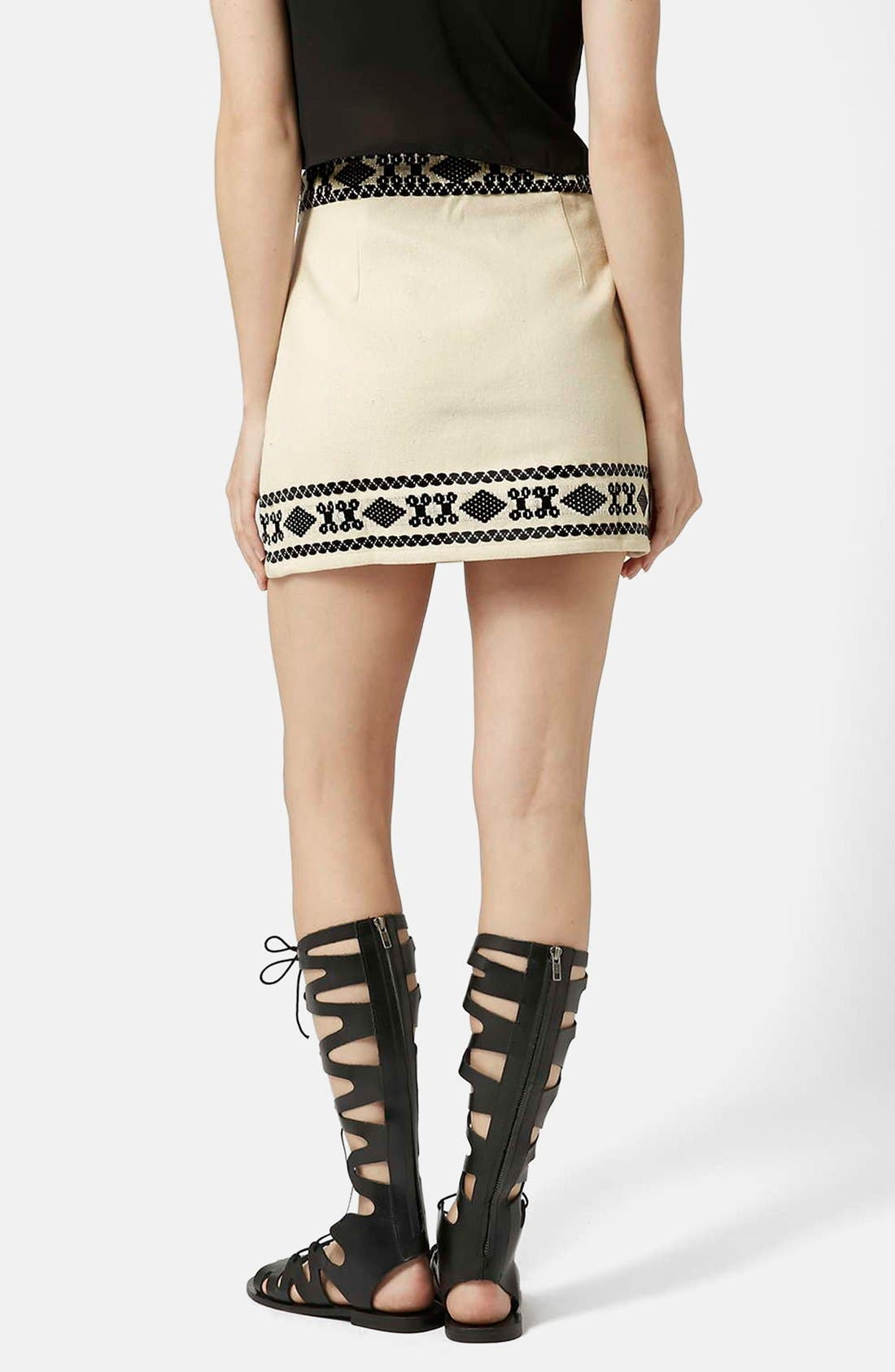 Alternate Image 2  - Topshop Blanket A-Line Miniskirt (Petite)