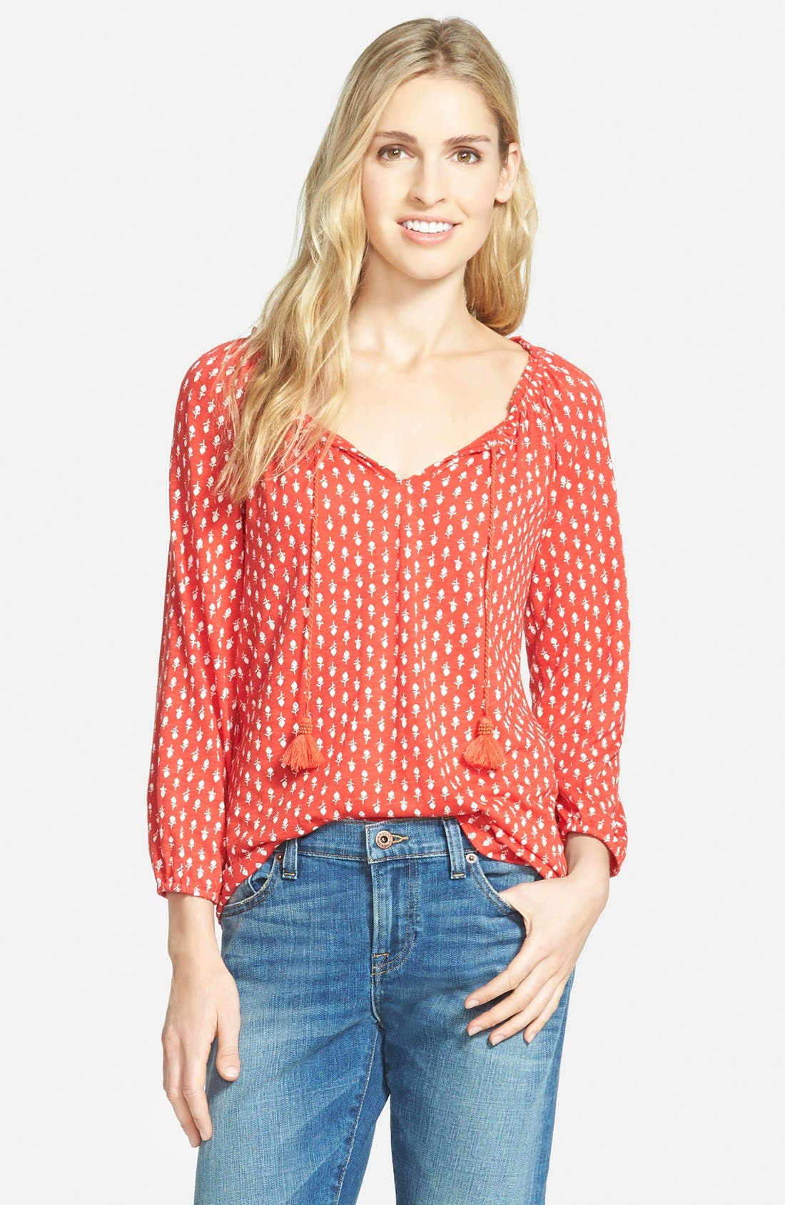 Alternate Image 1 Selected - Lucky Brand Woodstamp Print Split Neck Top