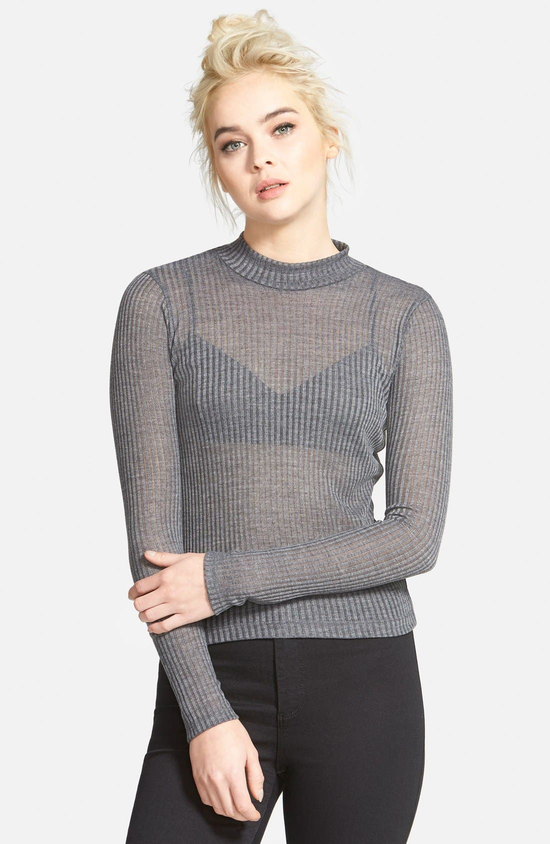 Main Image - Topshop Rib Knit Funnel Neck Top