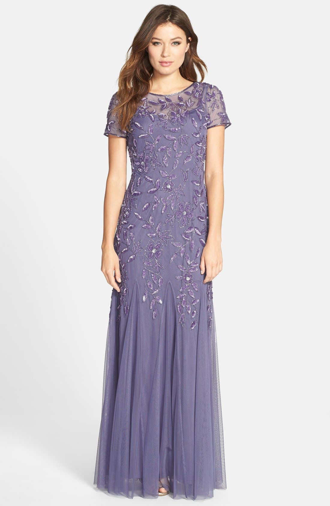 Alternate Image 1 Selected - Adrianna Papell Floral Beaded Trumpet Gown (Regular & Petite)
