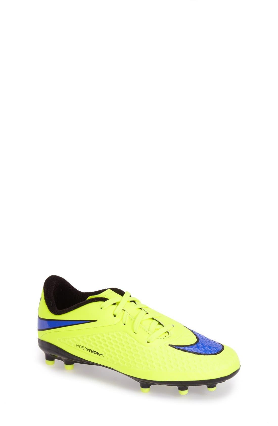 Main Image - Nike 'Hypervenom Phelon FG' Soccer Cleat (Toddler, Little Kid & Big Kid)