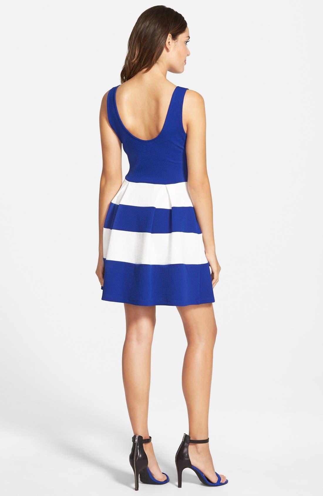 Alternate Image 2  - Soprano Stripe Skater Dress (Juniors)