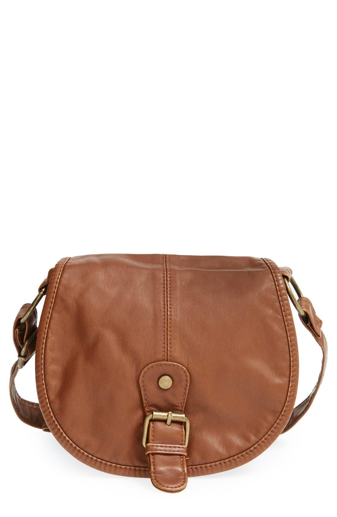 Main Image - BP. Woven Border Faux Leather Crossbody Bag