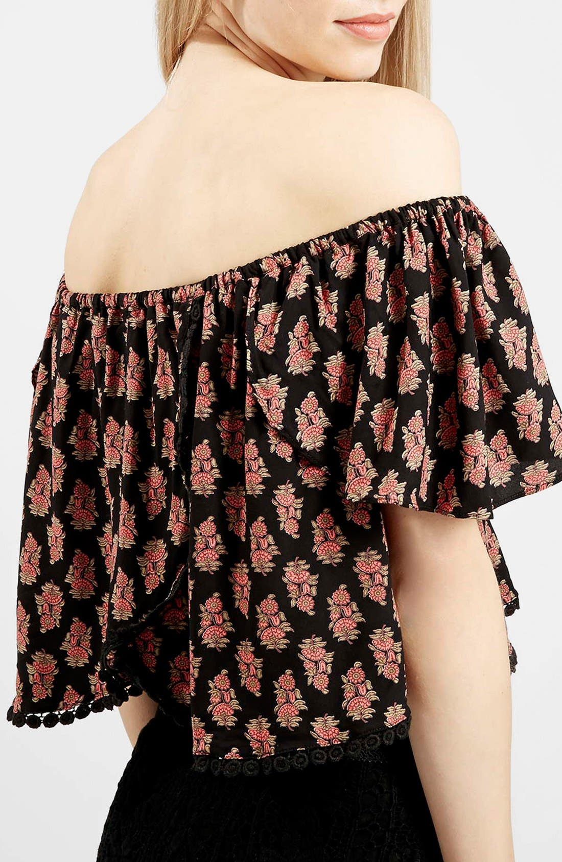 Alternate Image 4  - Topshop Tile Print Off the Shoulder Top