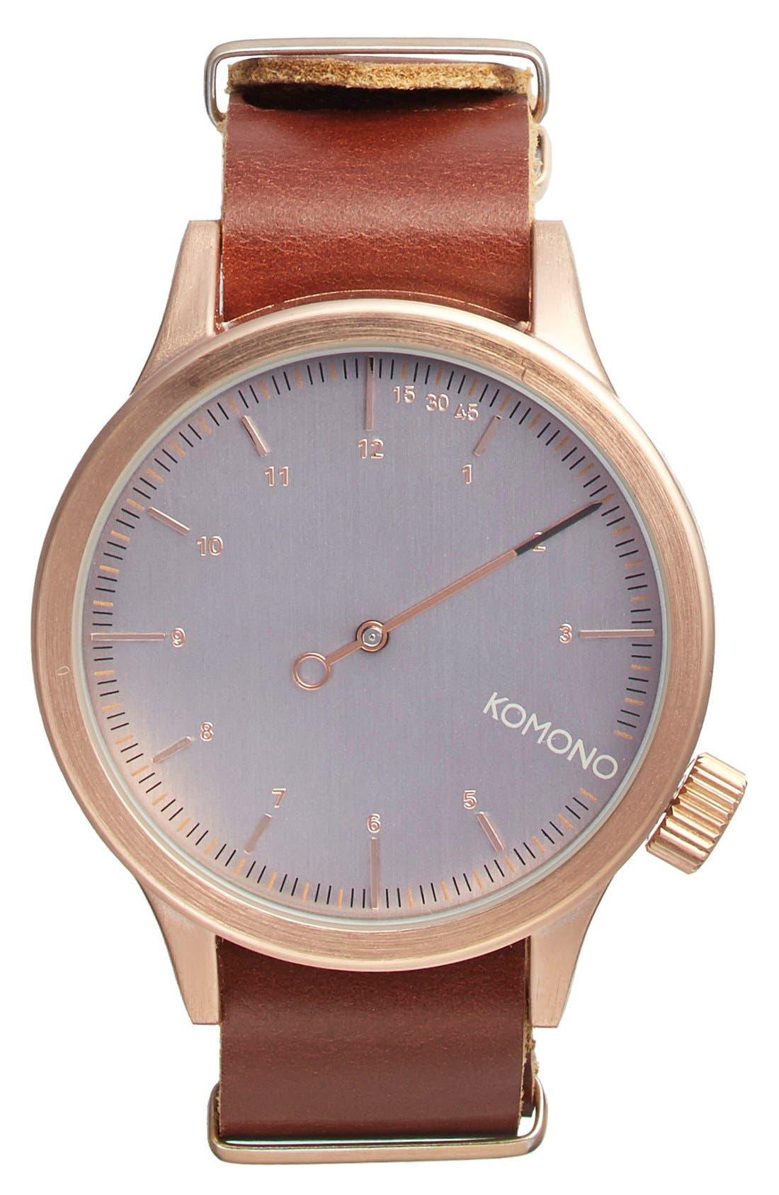 KOMONO 'Magnus The One' Round Leather Strap Watch,