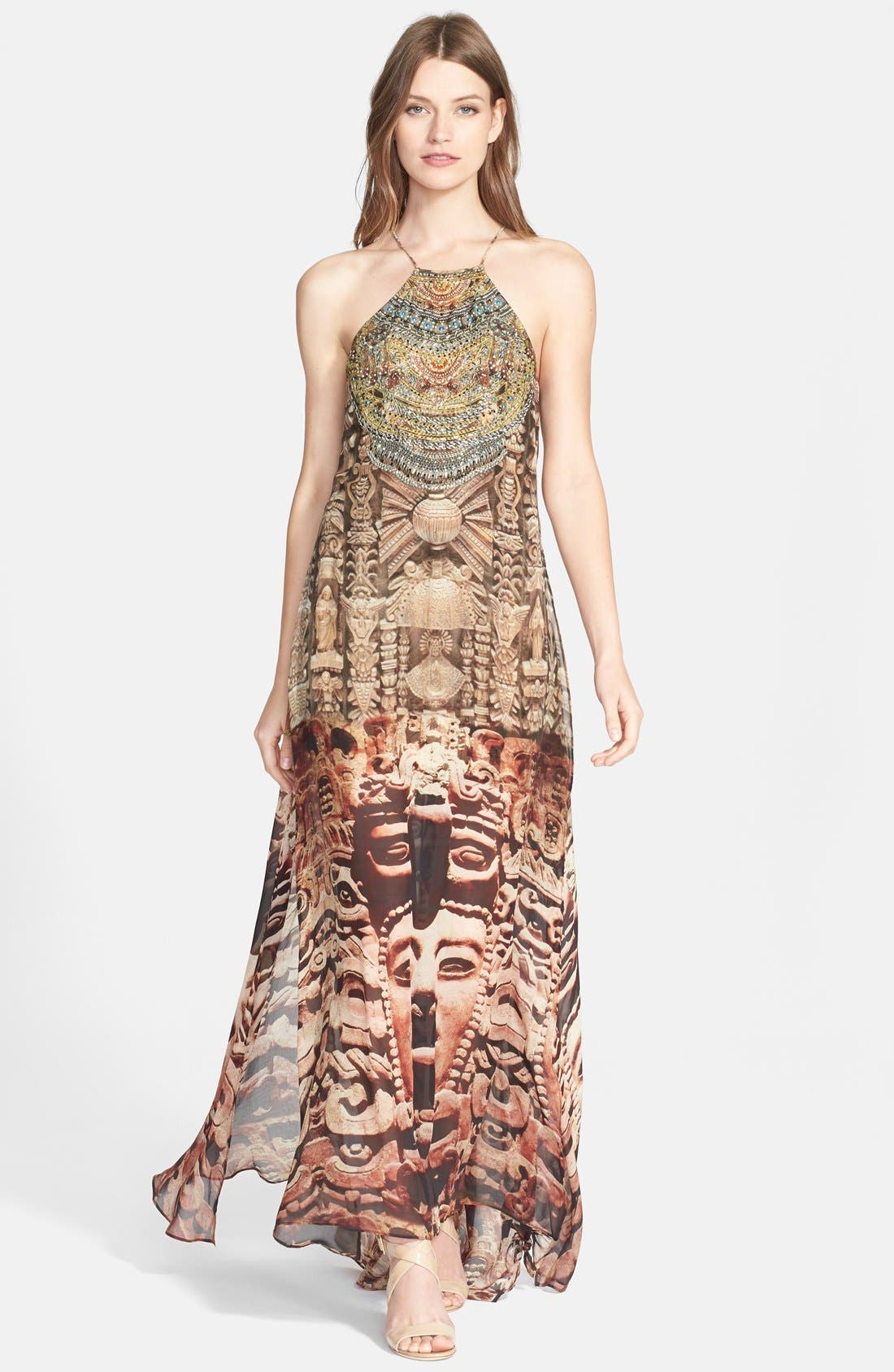 Main Image - Camilla 'Time Among the Gods' Crystal Embellished Print Silk Maxi Dress