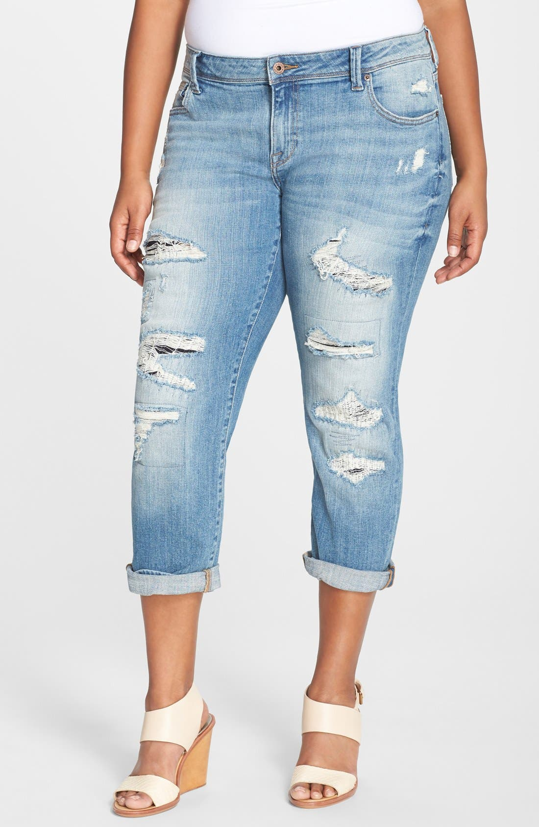 Main Image - Lucky Brand 'Reese' Ripped Boyfriend Jeans (San Marcos) (Plus Size)