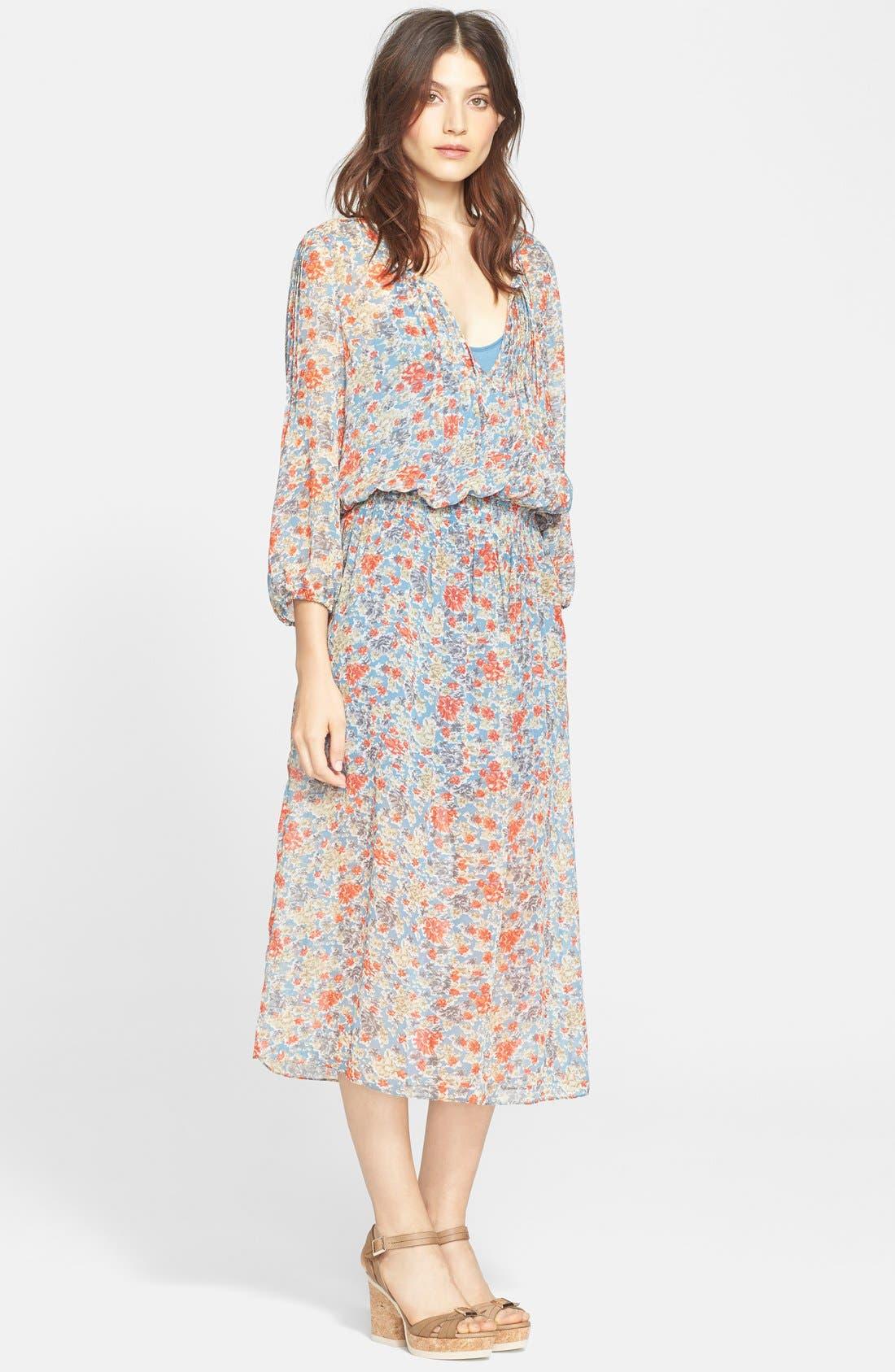 Main Image - Joie 'Pasclina' Floral Print Silk Midi Dress