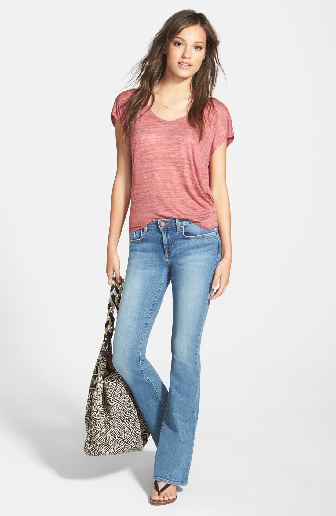 Alternate Image 4  - Genetic 'Leaf' Low Rise Flare Jeans (Canyon)