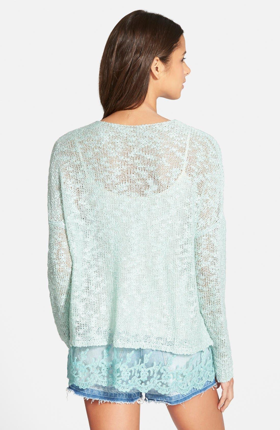 Alternate Image 2  - Woven Heart Lace Trim Sweater