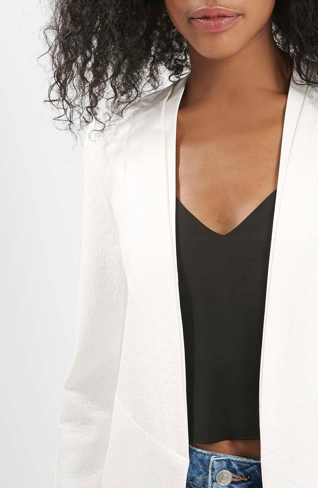 Alternate Image 4  - Topshop 'Poppy' Textured Double Collar Blazer