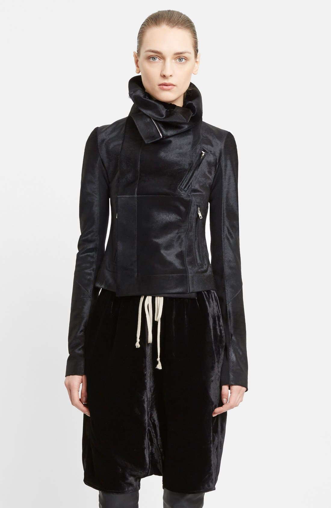 Alternate Image 1 Selected - Rick Owens Classic Genuine Calf Hair Biker Jacket