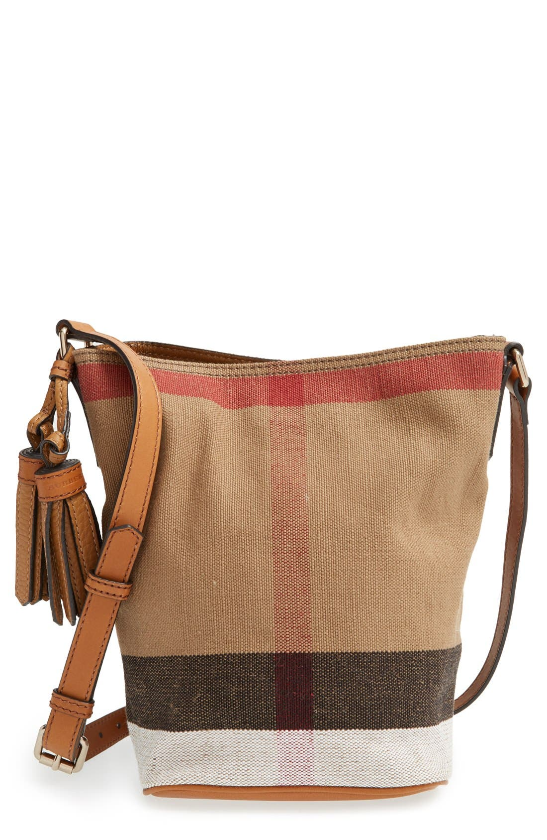 Alternate Image 1 Selected - Burberry Brit 'Mini Ashby' Canvas Check Crossbody Bucket Bag