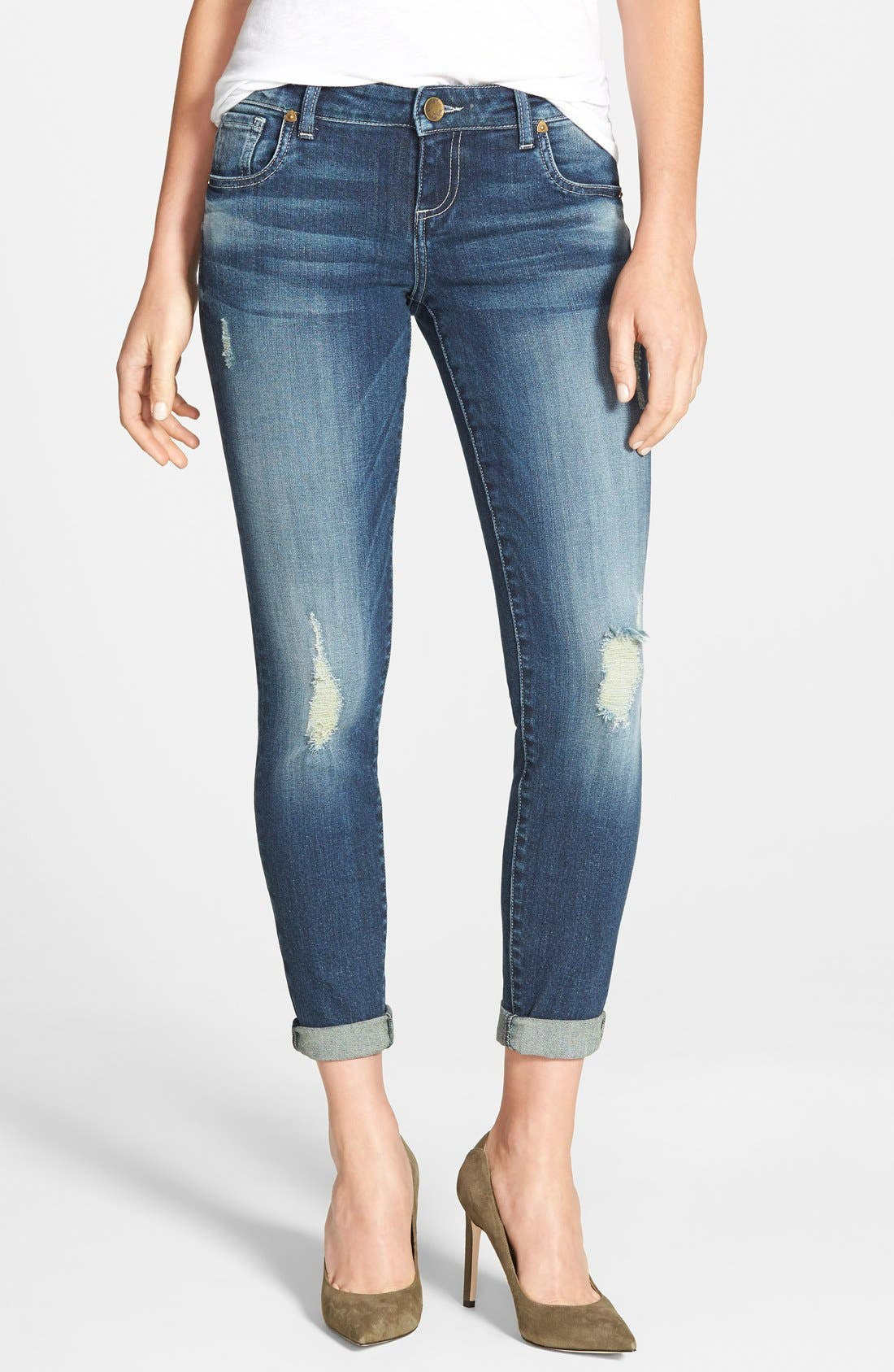 Alternate Image 1 Selected - KUT from the Kloth 'Adele' Distressed Slouchy Boyfriend Jeans (Close)
