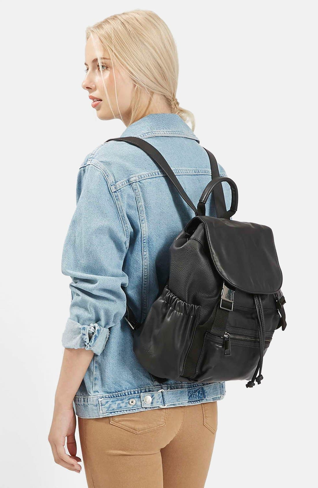 Alternate Image 1 Selected - Topshop Sporty Faux Leather Backpack