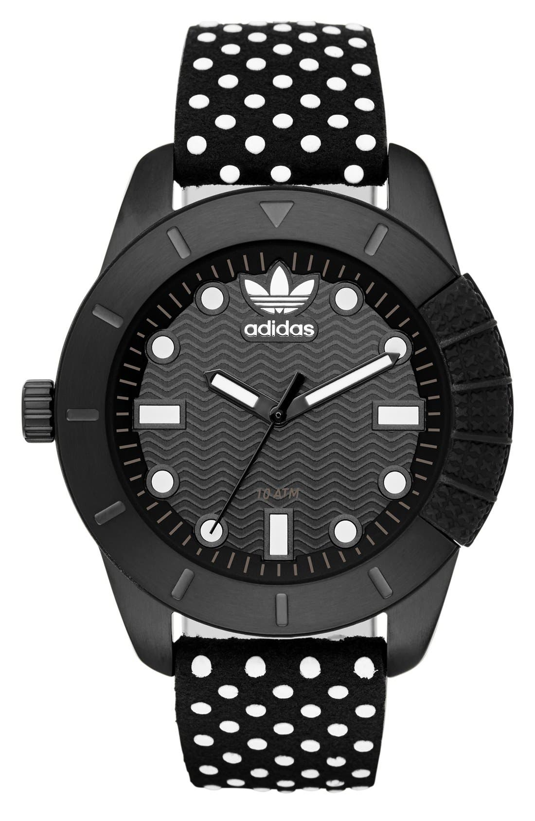 Alternate Image 1 Selected - adidas Originals 'ADH-1969' Leather Strap Watch, 42mm