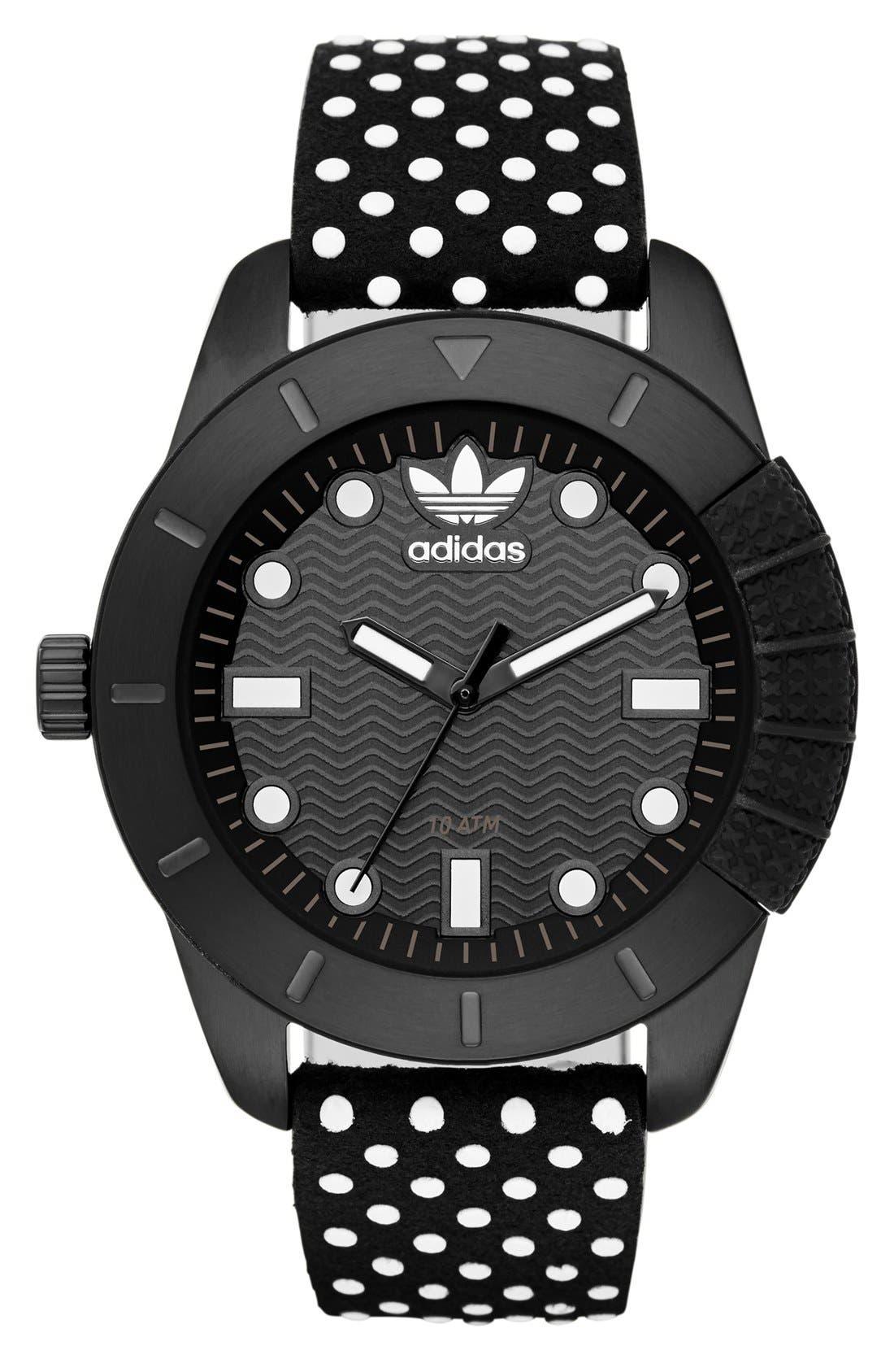Main Image - adidas Originals 'ADH-1969' Leather Strap Watch, 42mm