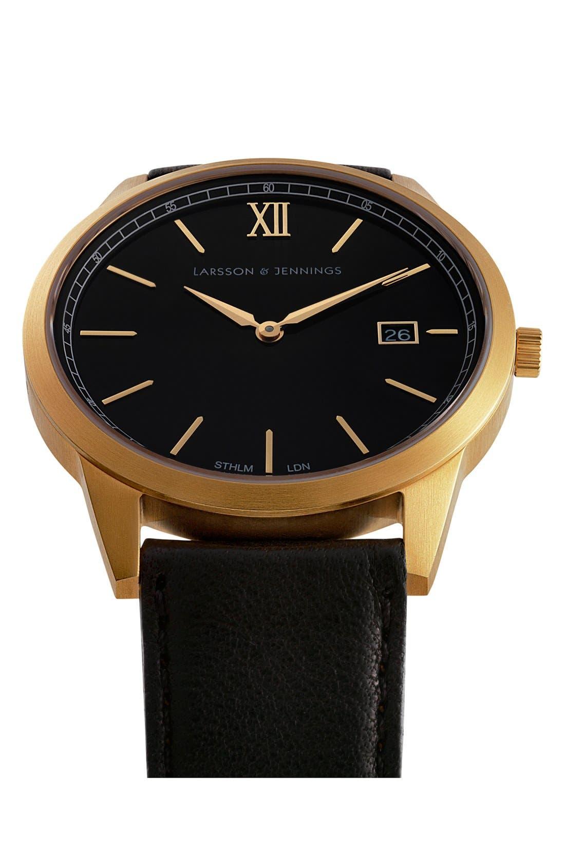 Alternate Image 6  - Larsson & Jennings 'Saxon' Leather Strap Watch, 39mm