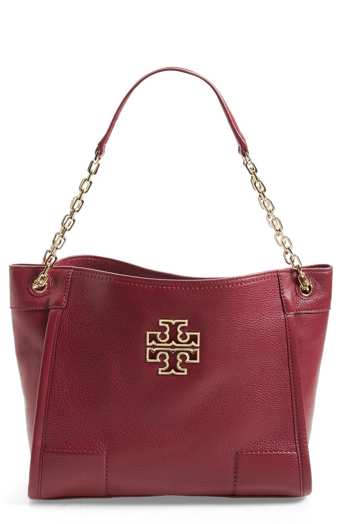 Alternate Image 1 Selected - Tory Burch 'Small Britten' Leather Slouchy Tote