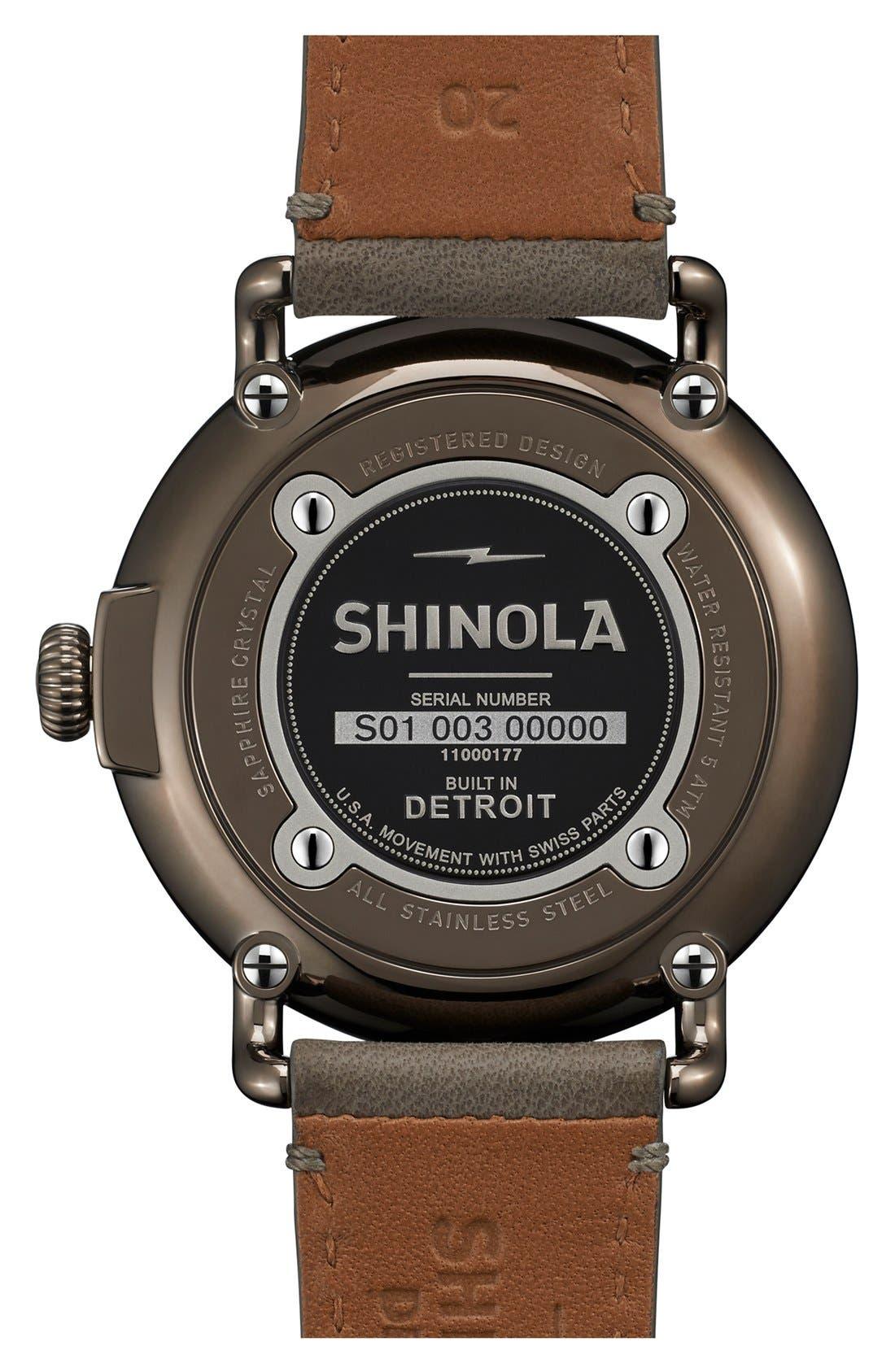 Alternate Image 2  - Shinola 'Runwell' Leather Strap Watch, 41mm