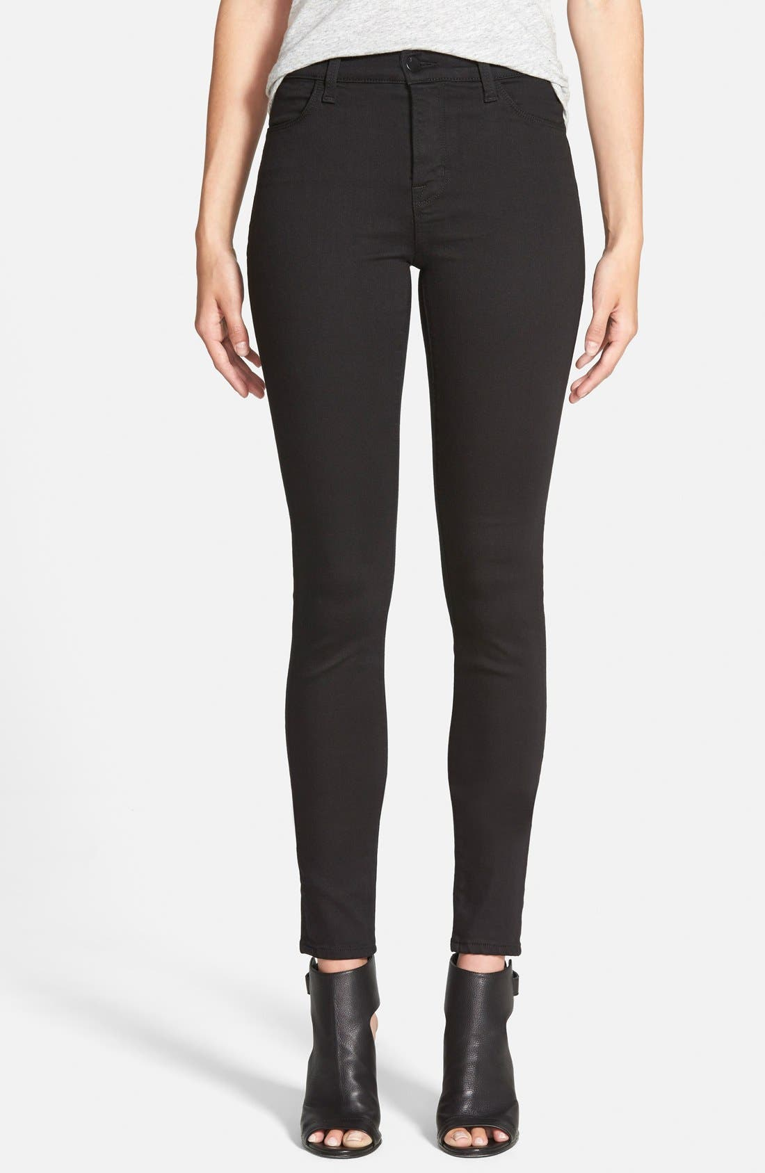 Alternate Image 1 Selected - J Brand Maria High Waist Skinny Jeans (Seriously Black)