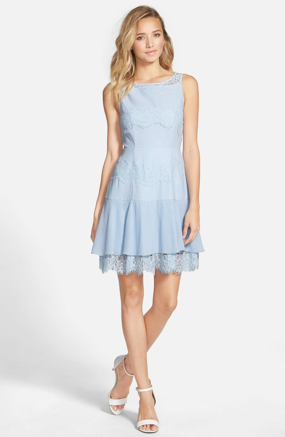 Alternate Image 1 Selected - a. drea Lace Inset Fit & Flare Dress