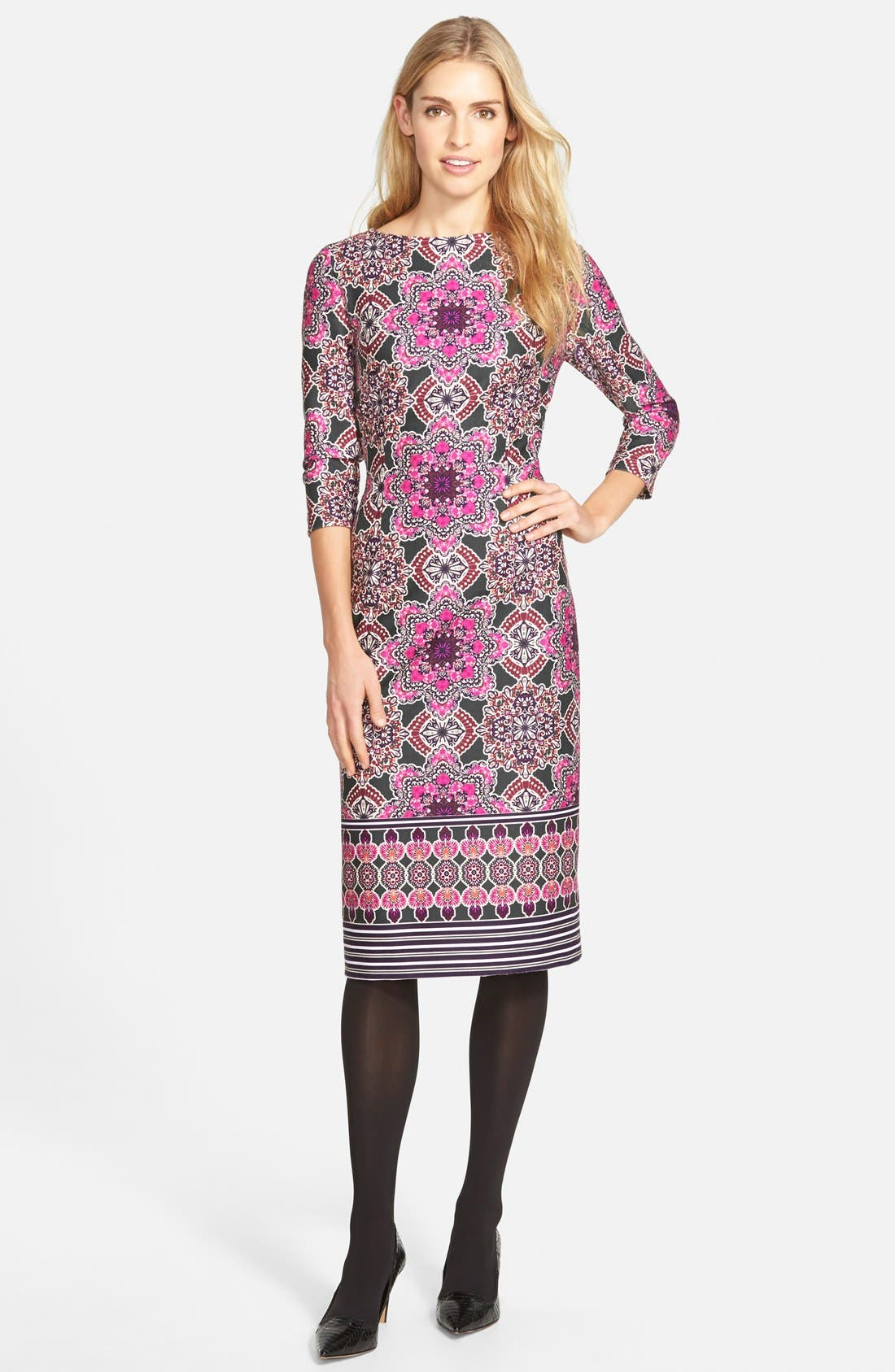 Alternate Image 5  - Eliza J Print Ponte Midi Sheath Dress