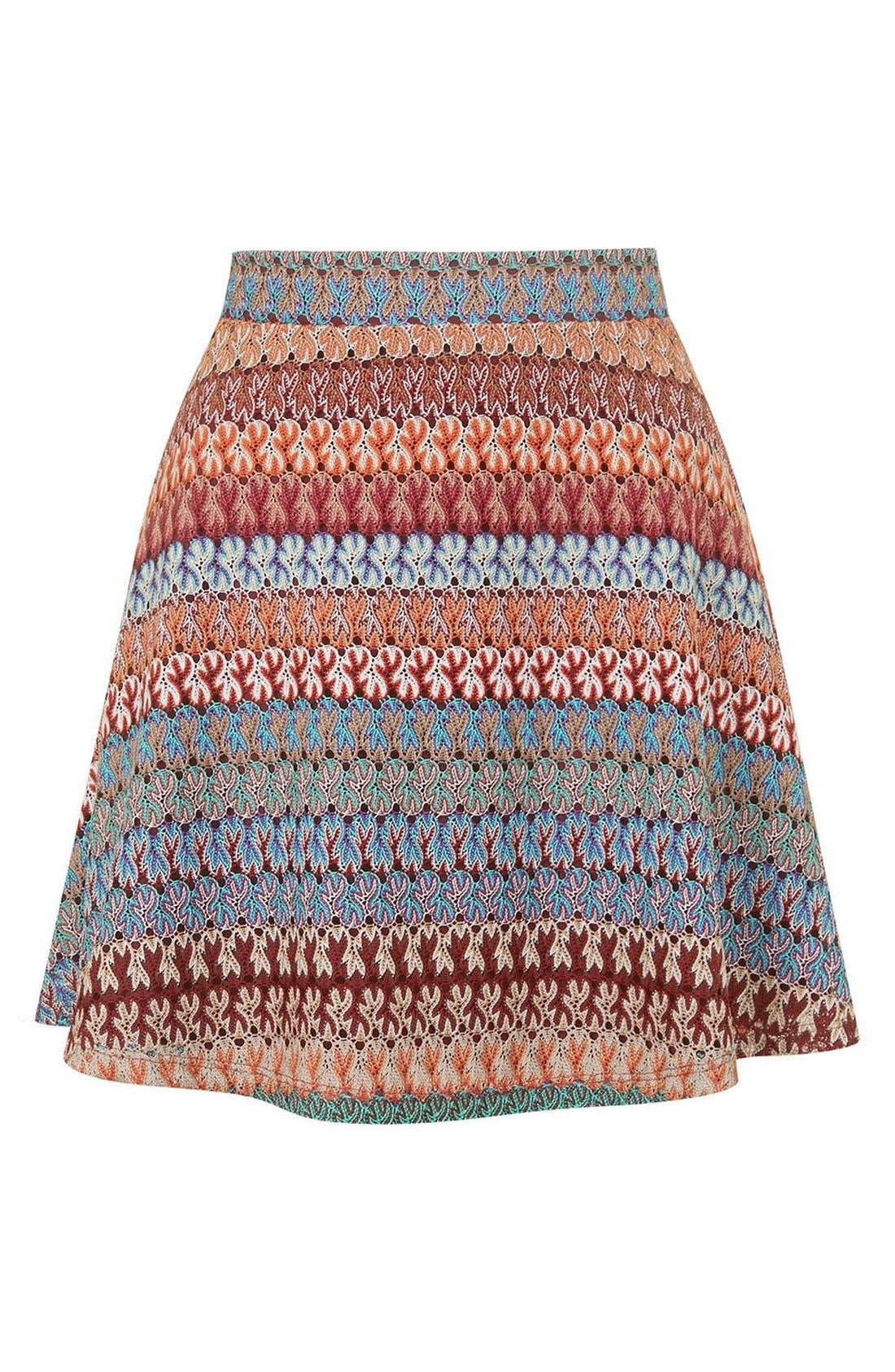 Alternate Image 5  - Topshop Crochet Stripe A-Line Skirt