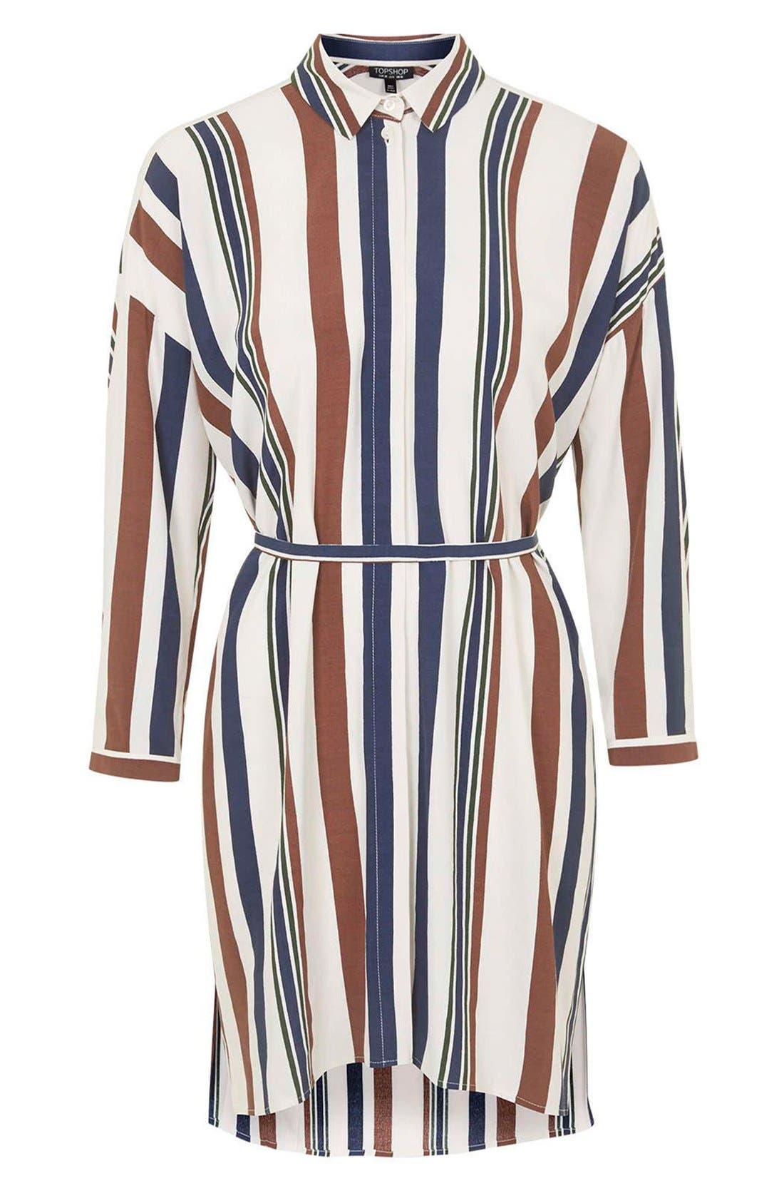Alternate Image 4  - Topshop Stripe Belted Shirtdress