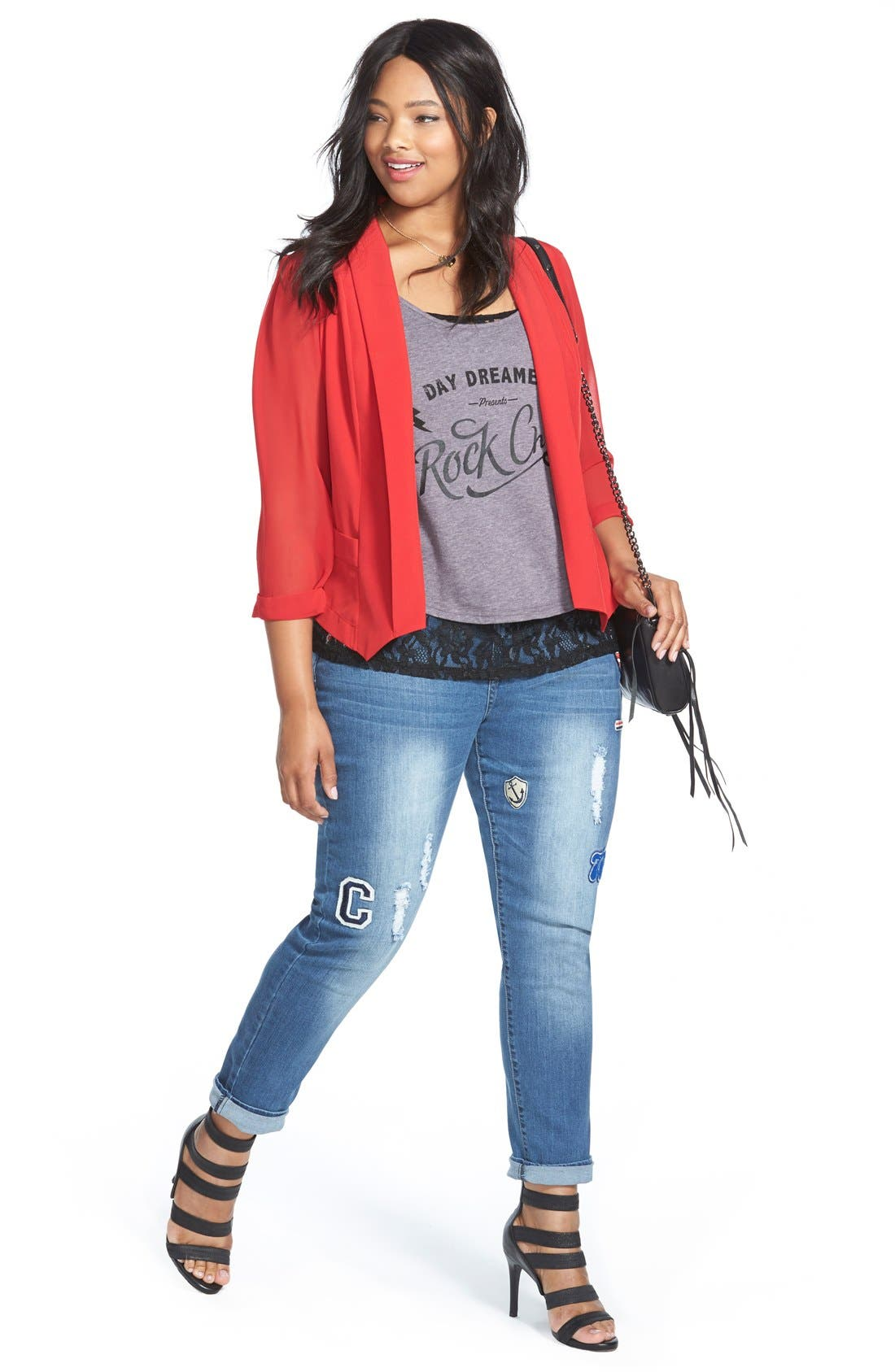 Alternate Image 2  - City Chic '80s Girl' Patch Detail Distressed Roll Cuff Jeans (Dark Denim) (Plus Size)