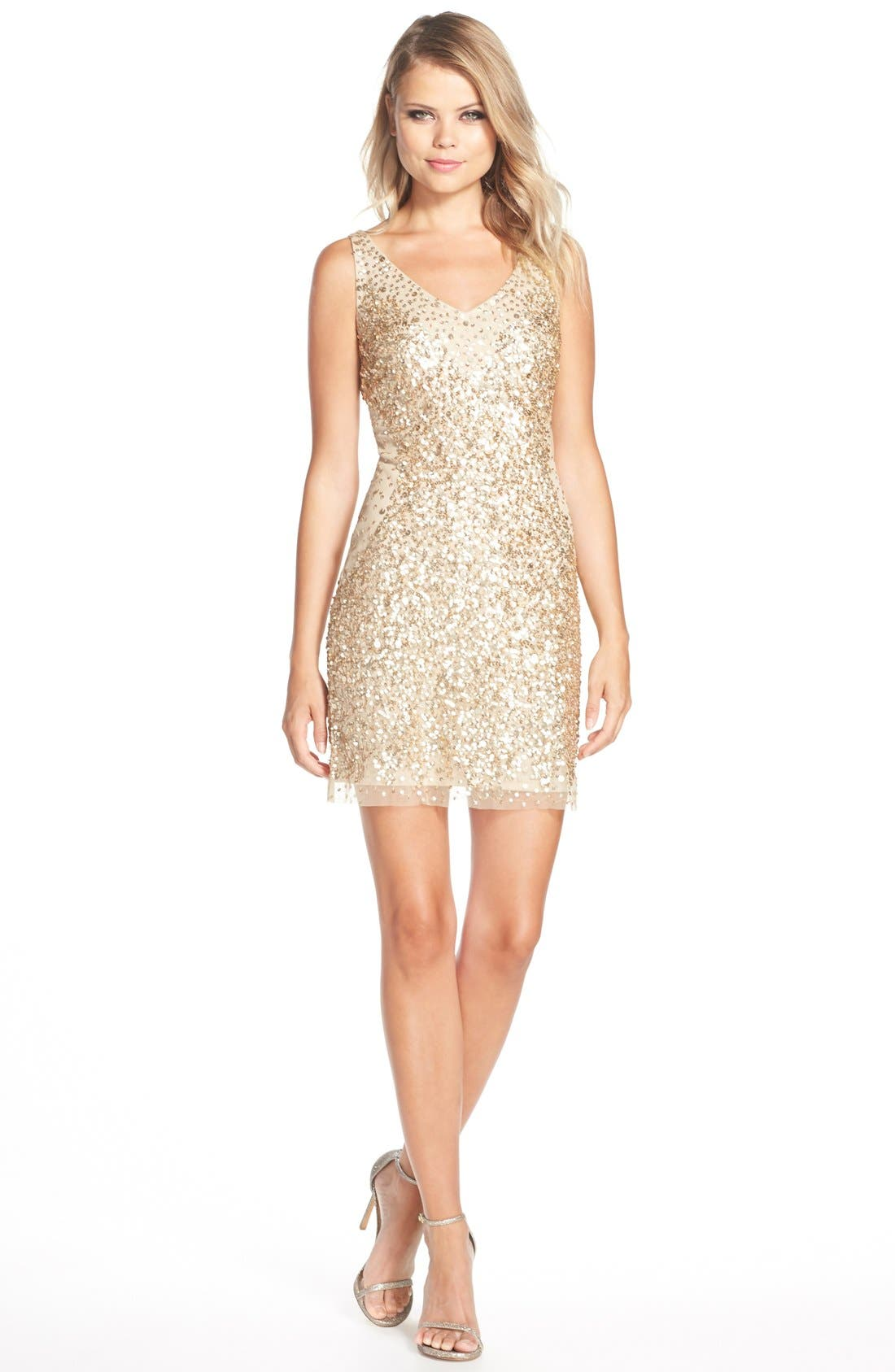 Alternate Image 3  - Adrianna Papell Sequin Tulle Sheath Dress