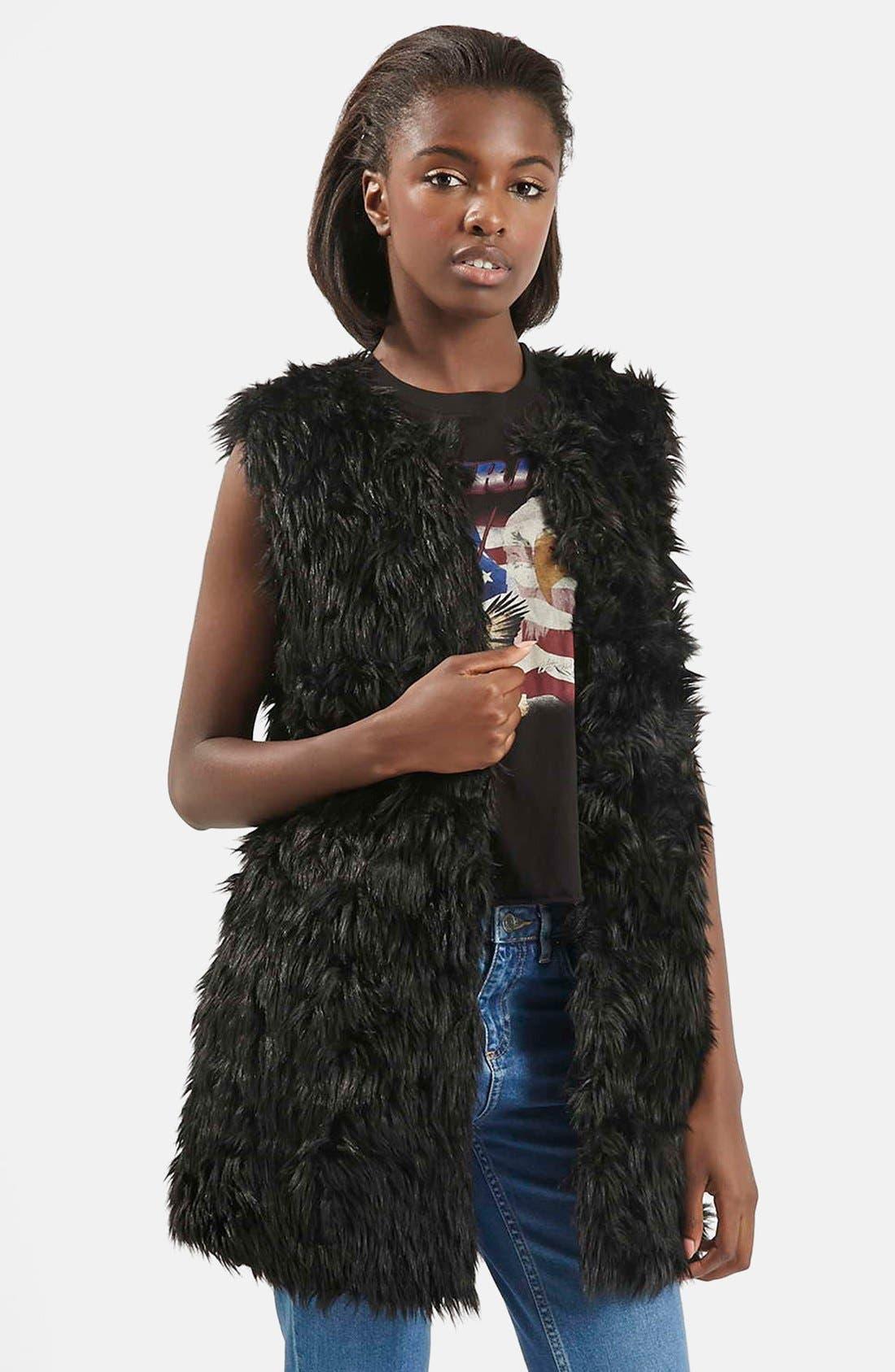 Main Image - Topshop Shaggy Faux Fur Vest
