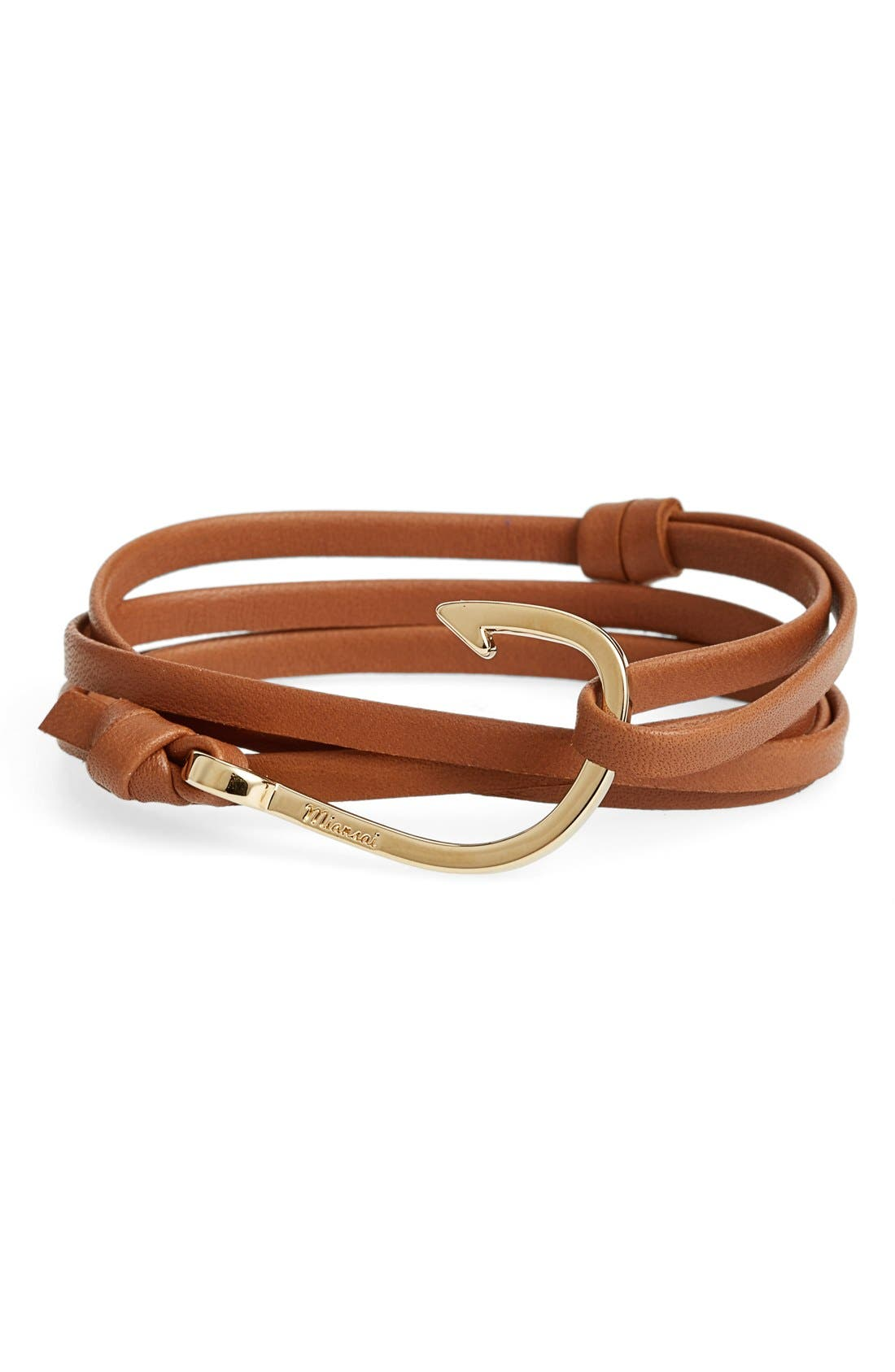 Miansai Gold Hook Leather Bracelet