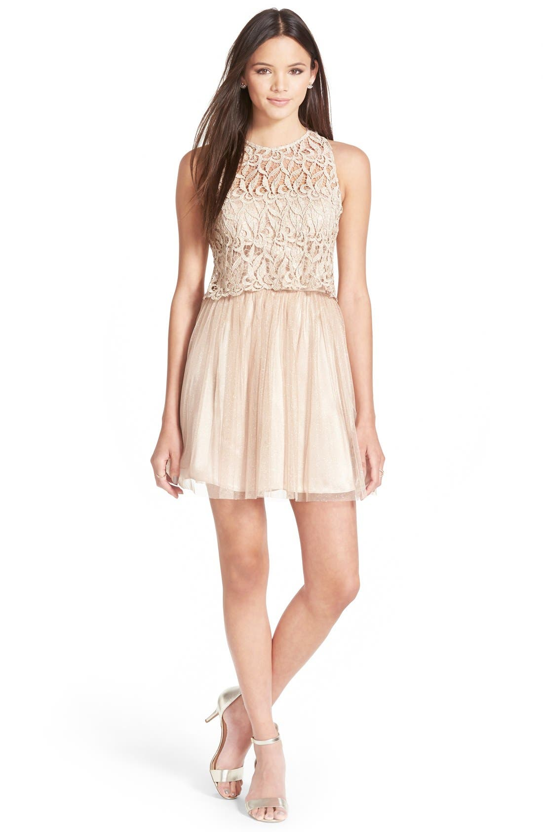 Main Image - Morgan & Co. Lace Popover Dress